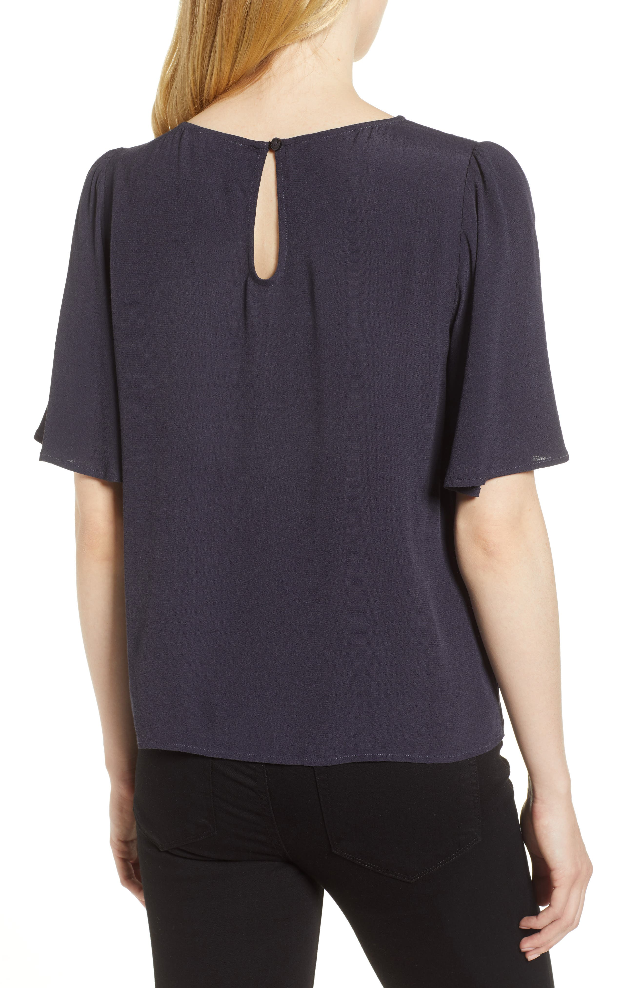 Ruffle Tie Front Top,                             Alternate thumbnail 2, color,                             Navy Well
