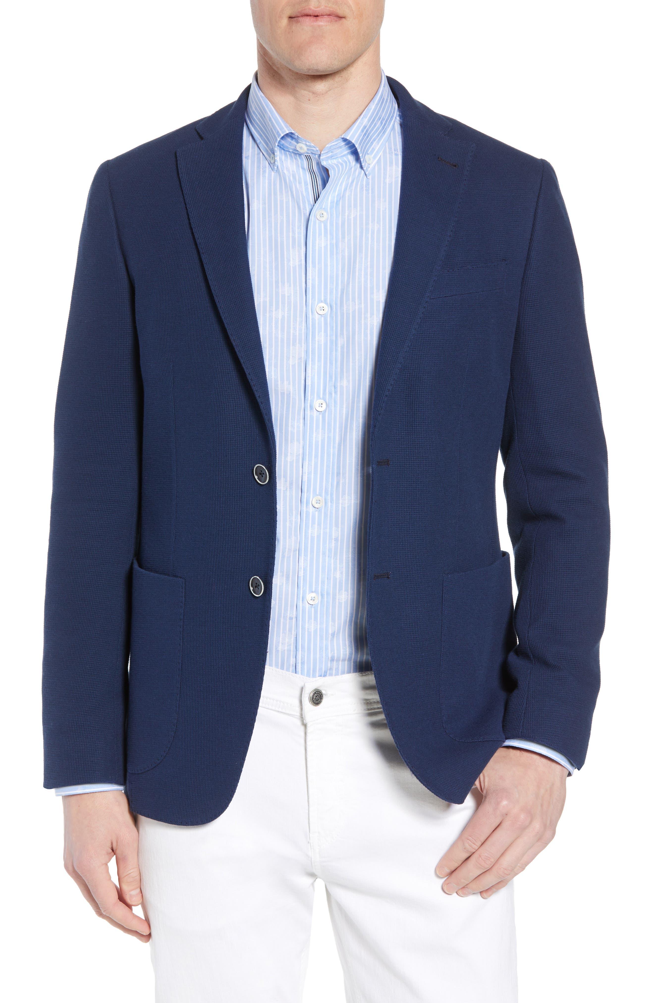 Regular Fit Cotton Piqué Blazer,                         Main,                         color, Navy