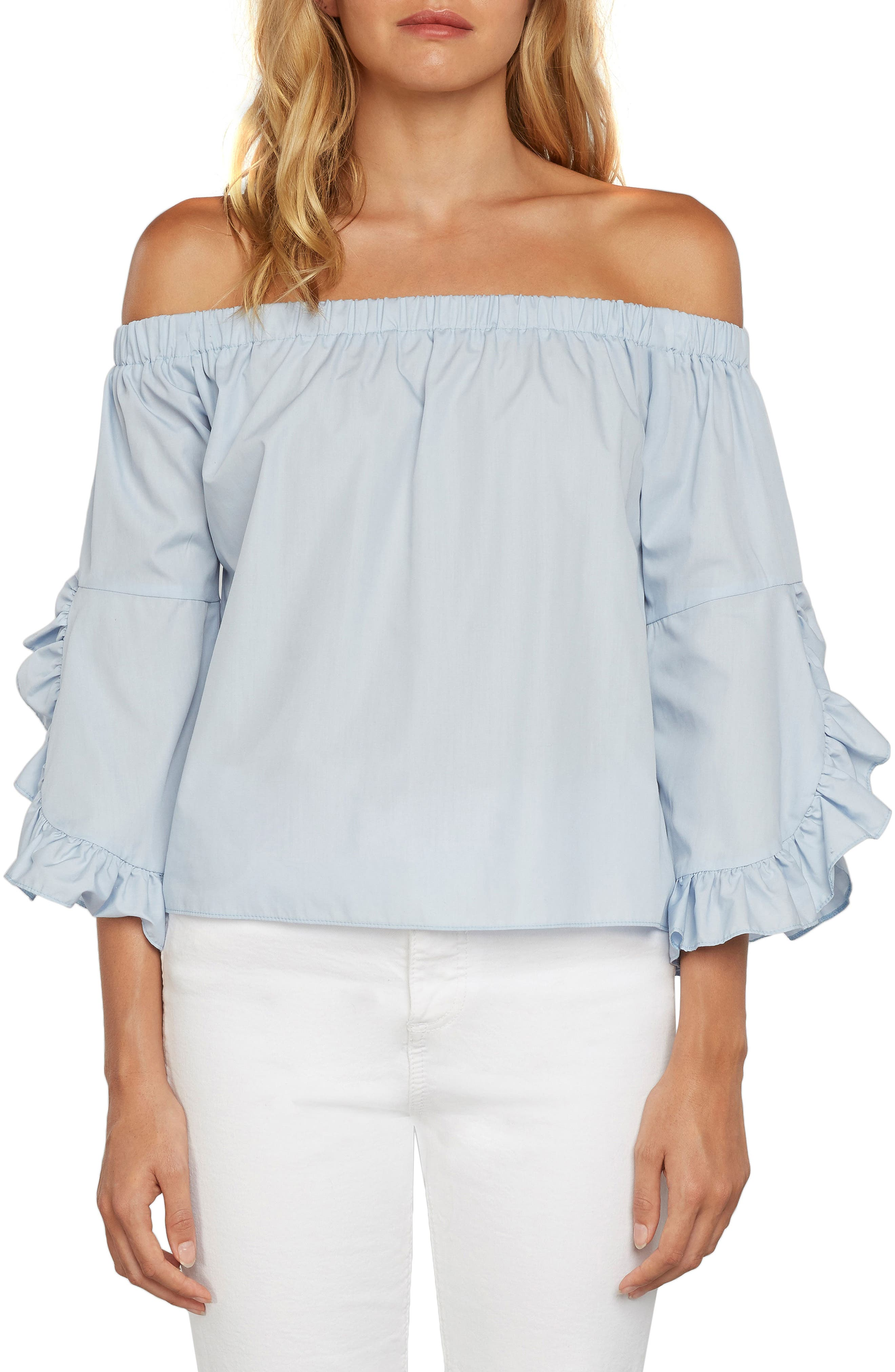 Miley Off the Shoulder Top,                         Main,                         color, Periwinkle