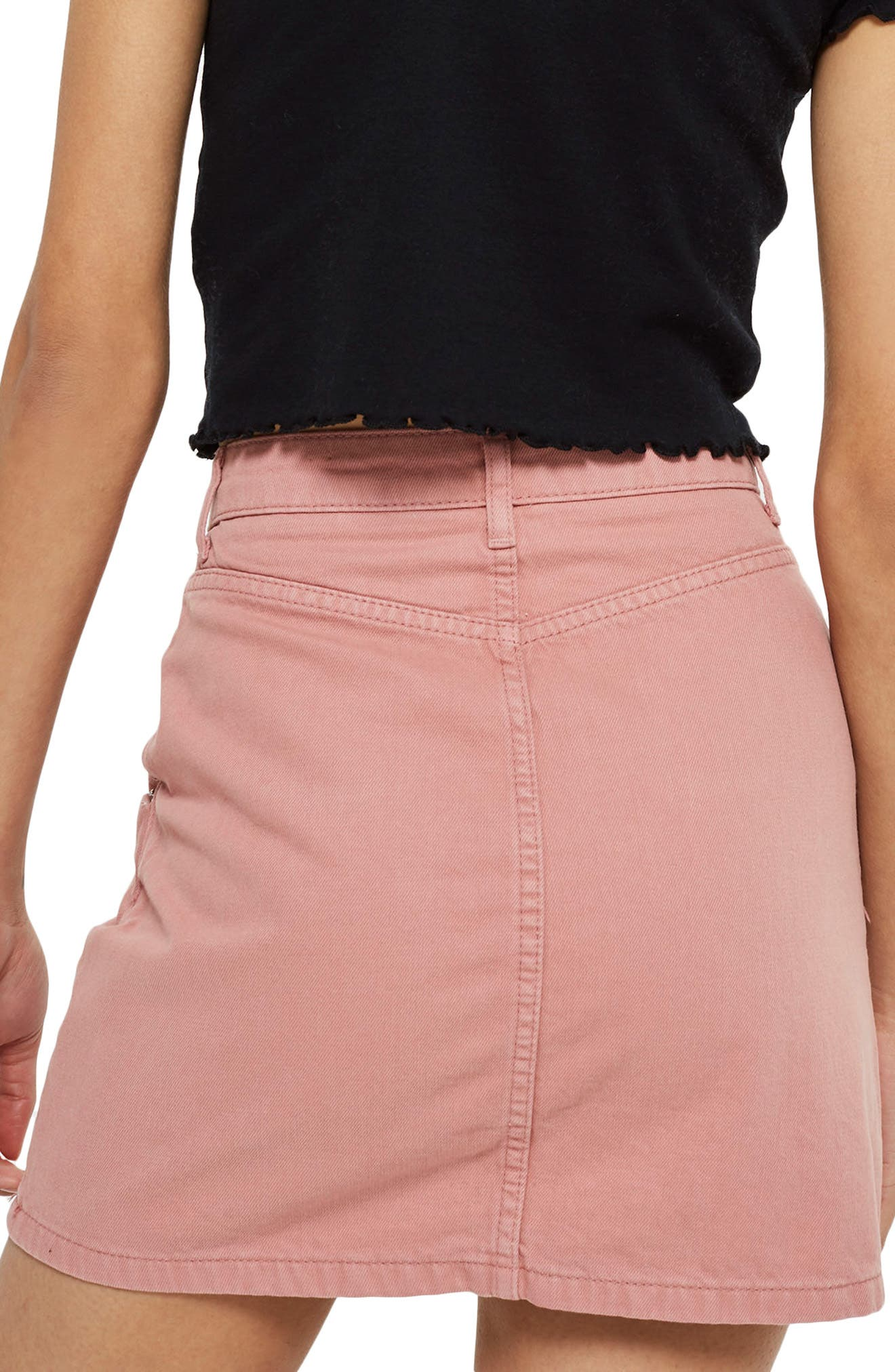 Half Zip Denim Skirt,                             Alternate thumbnail 2, color,                             Rose