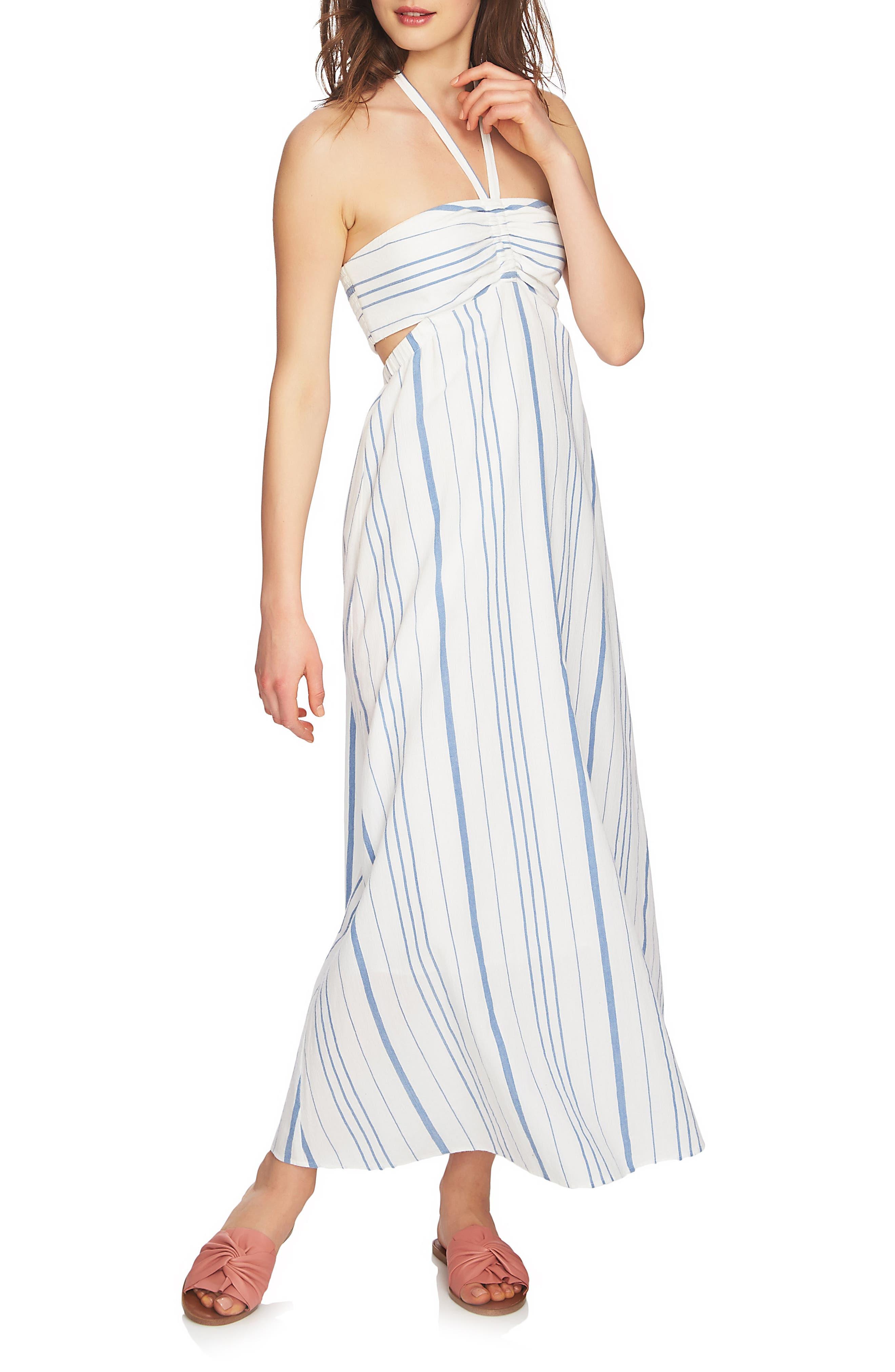 Cinched Bodice Maxi Dress,                             Main thumbnail 1, color,                             Antique White
