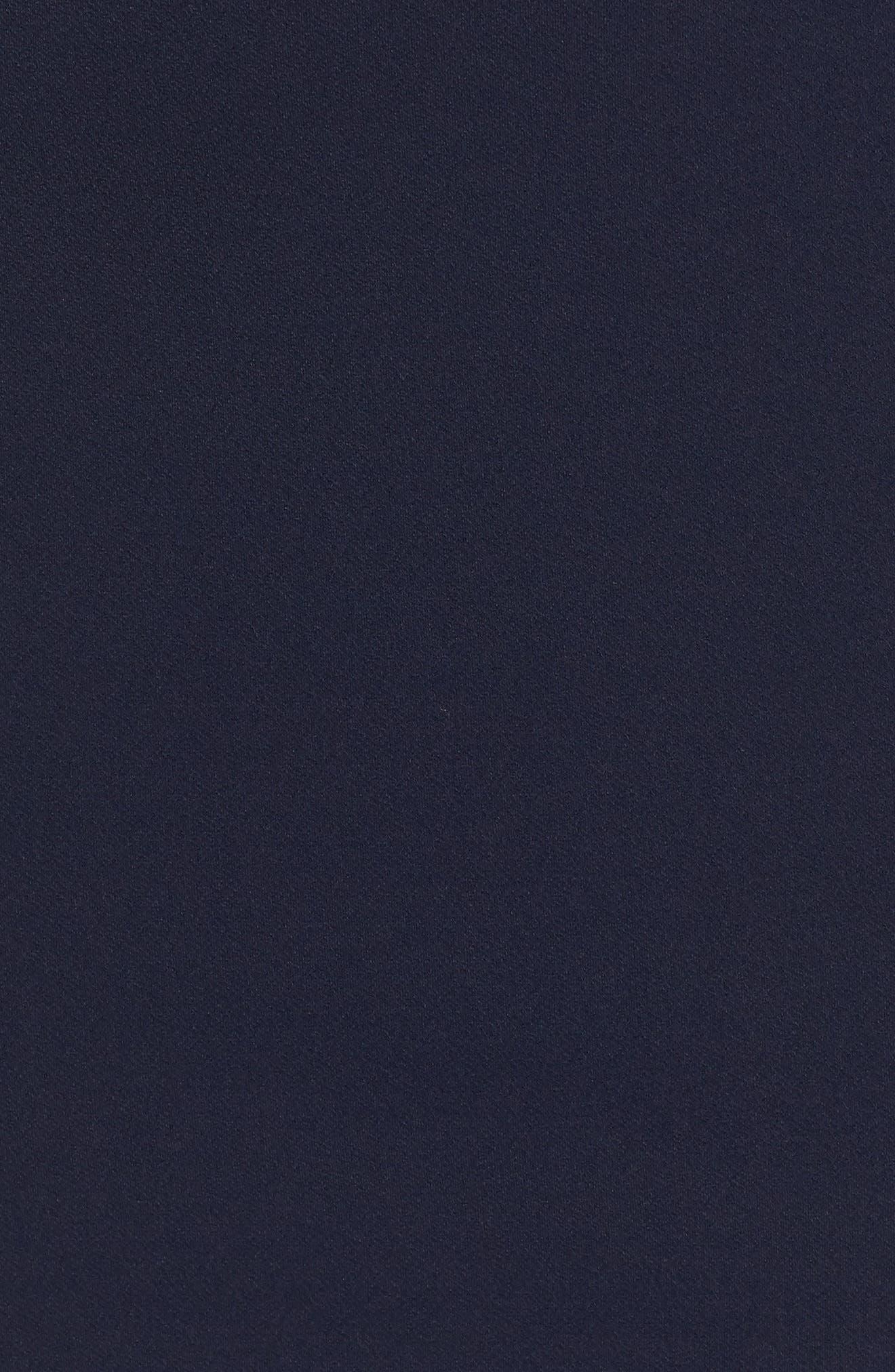 Ruffle Sleeve Scuba Shift Dress,                             Alternate thumbnail 6, color,                             Navy