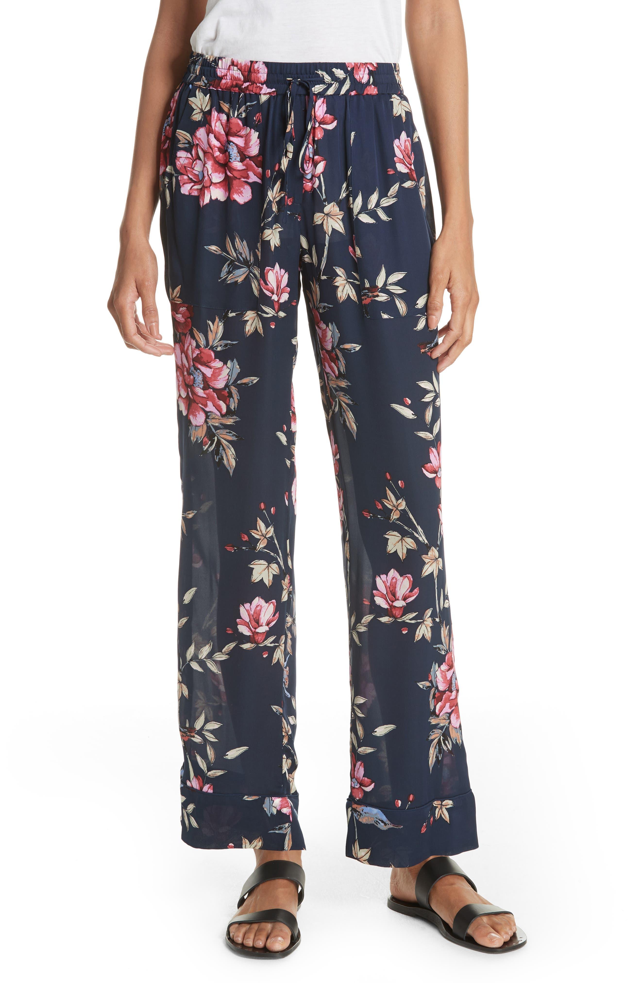 Daltona Floral Silk Pants,                         Main,                         color, Dark Navy