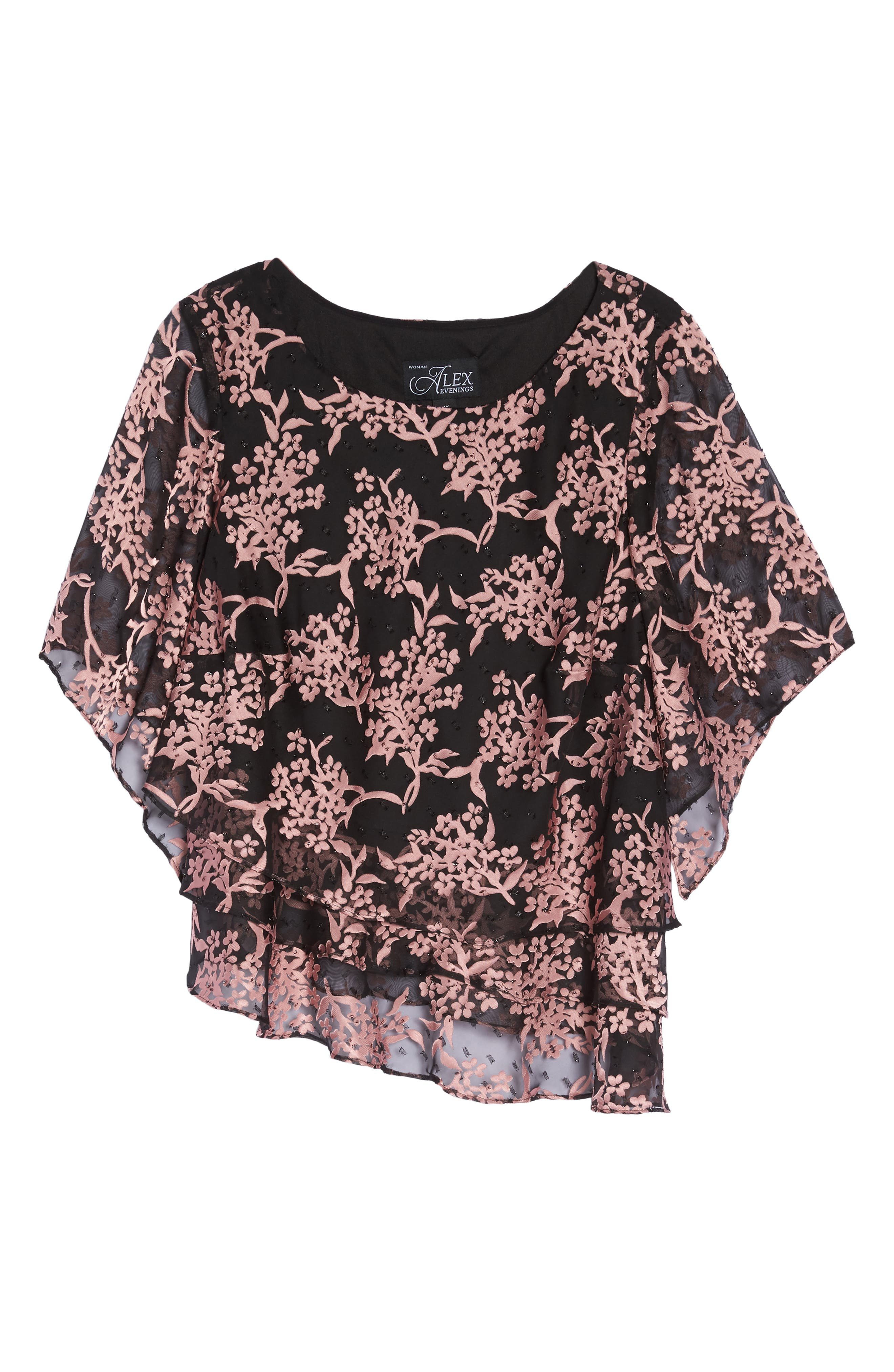 Embroidered Asymmetrical Top,                             Alternate thumbnail 6, color,                             Black/ Coral