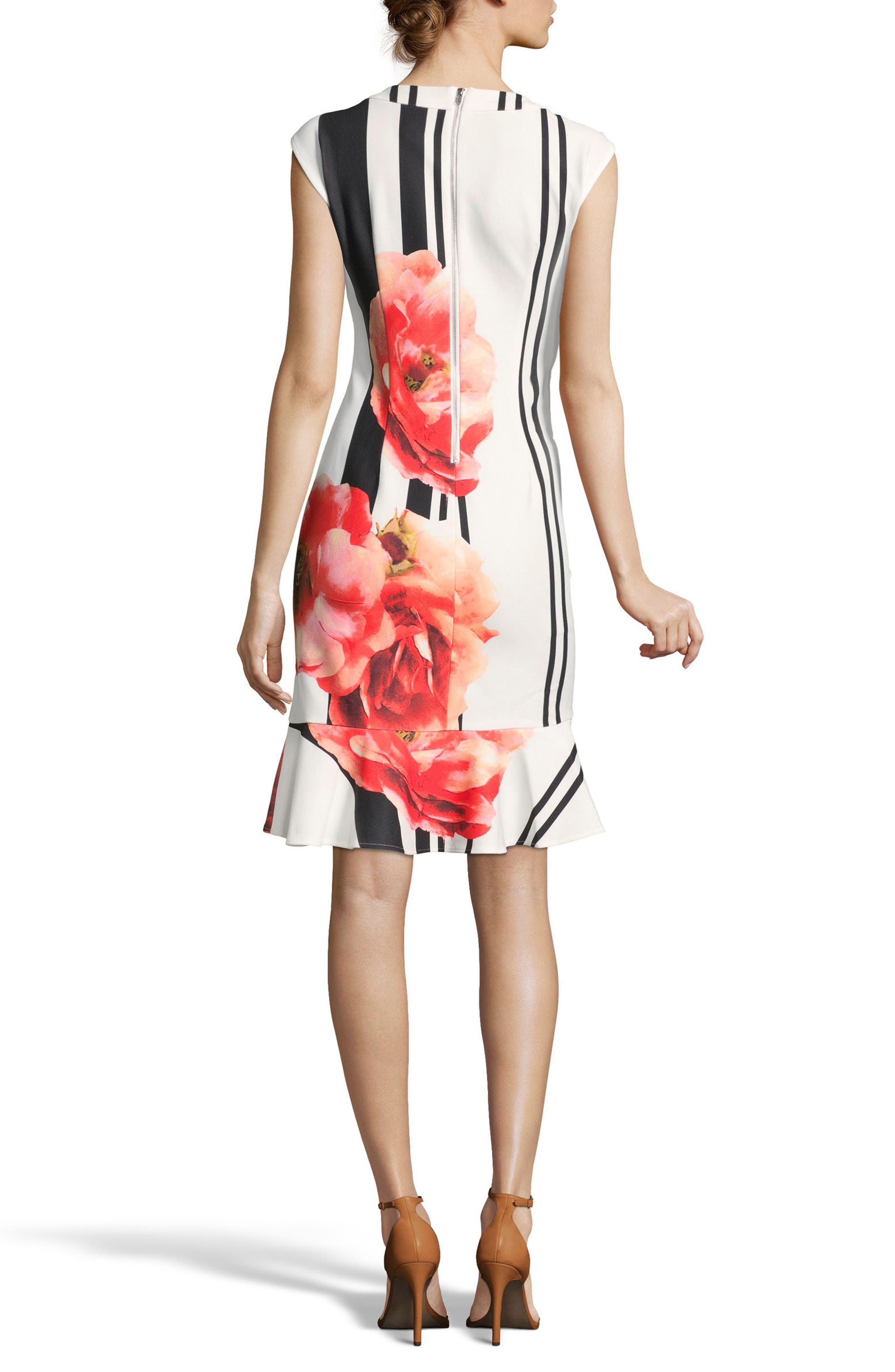 Placement Print Sheath Dress,                             Alternate thumbnail 2, color,                             Ivory/ Red