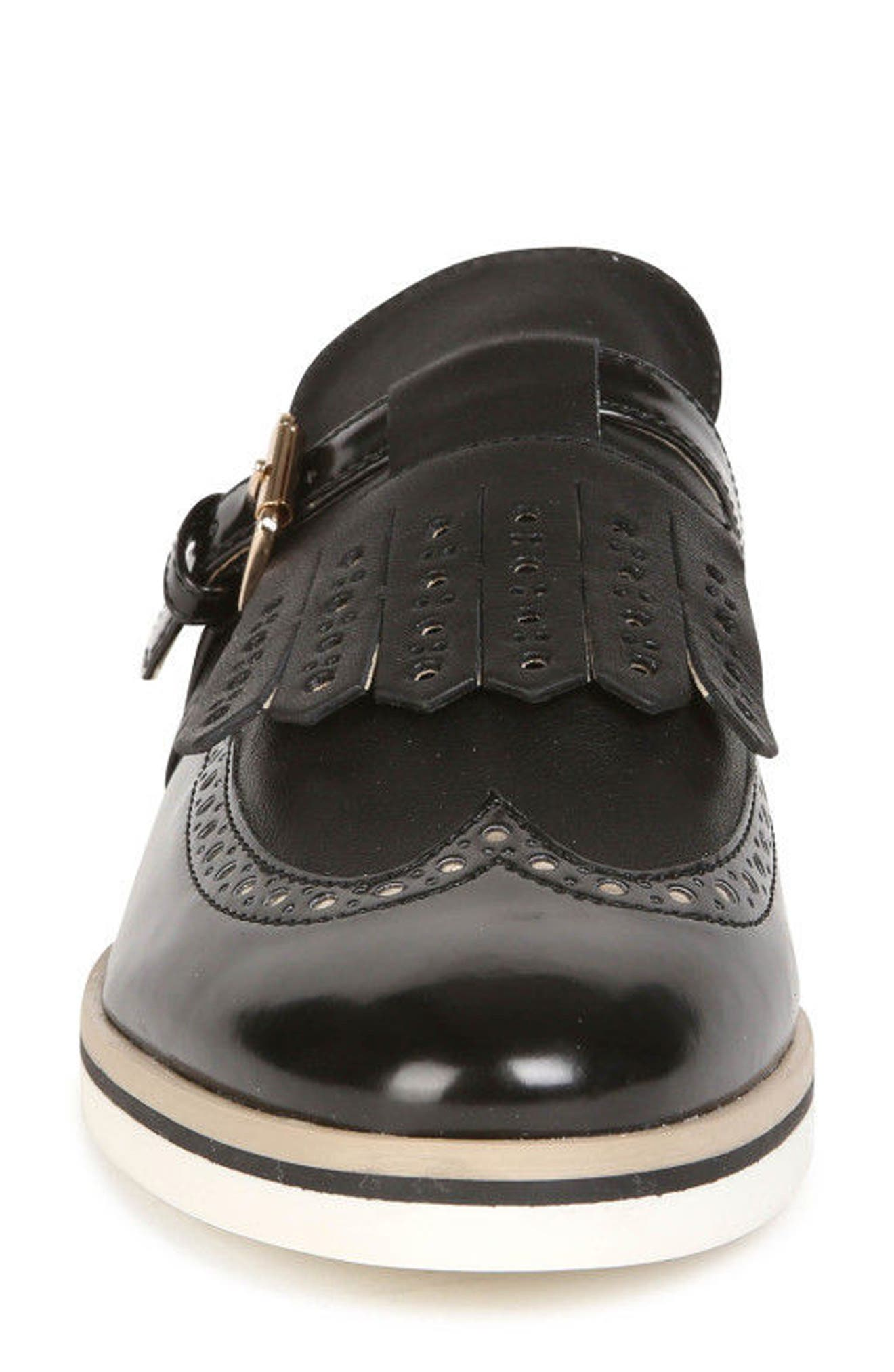 Janalee Cutout Loafer,                             Alternate thumbnail 4, color,                             Black Leather