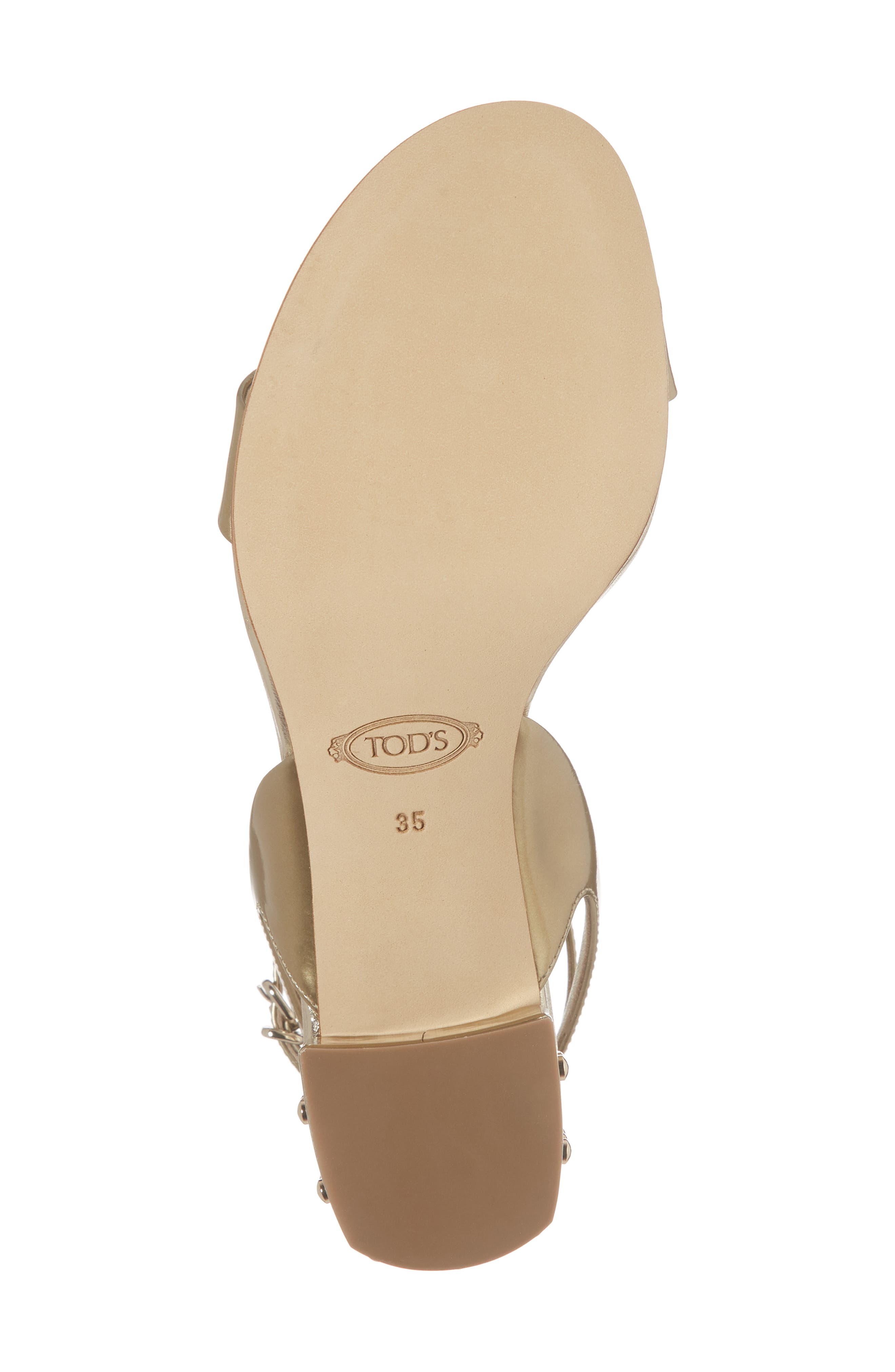 Gommini Block Heel Sandal,                             Alternate thumbnail 6, color,                             Gold