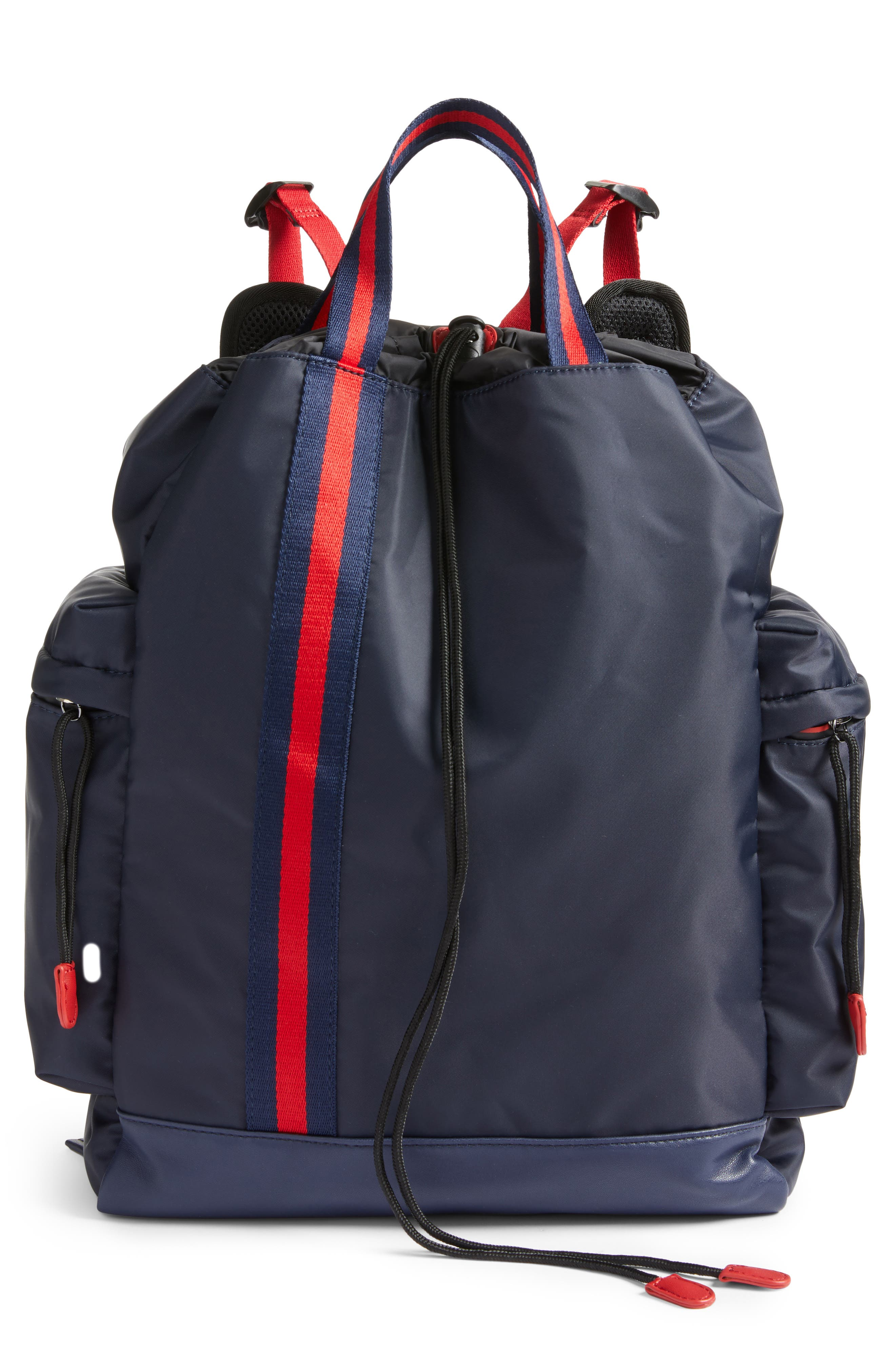 Yungg Stripe Strap Backpack,                             Main thumbnail 1, color,                             Navy/ Red