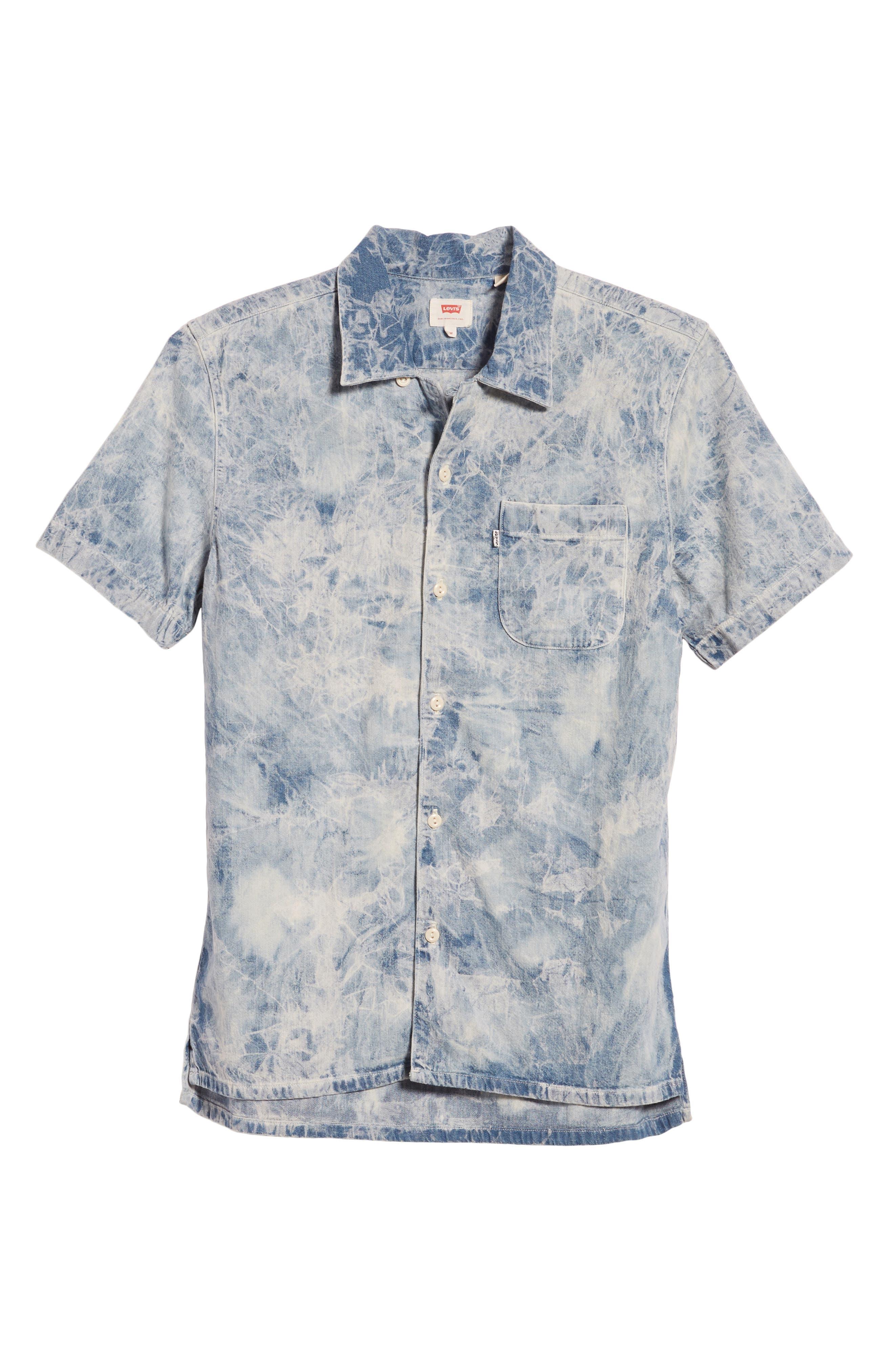 Hawaiian Shirt,                             Alternate thumbnail 6, color,                             Spider Bleach