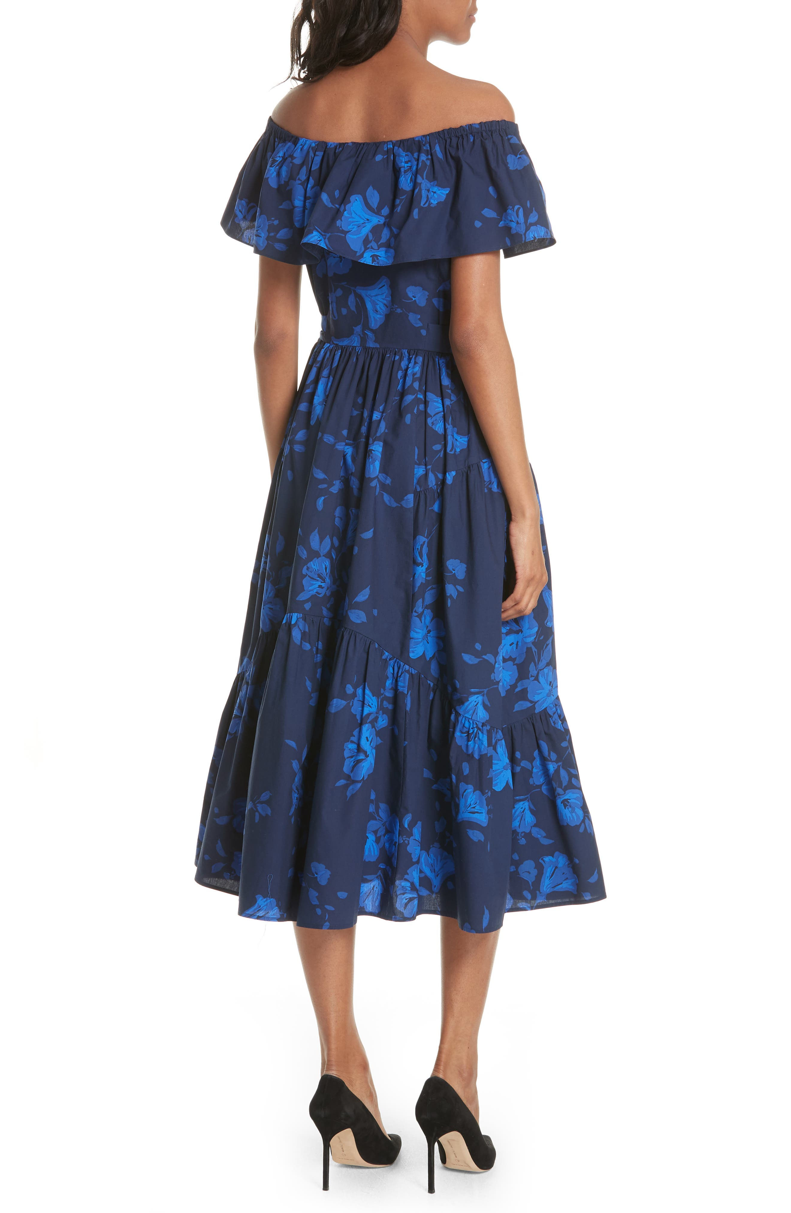 hibiscus off the shoulder cotton dress,                             Alternate thumbnail 2, color,                             French Navy