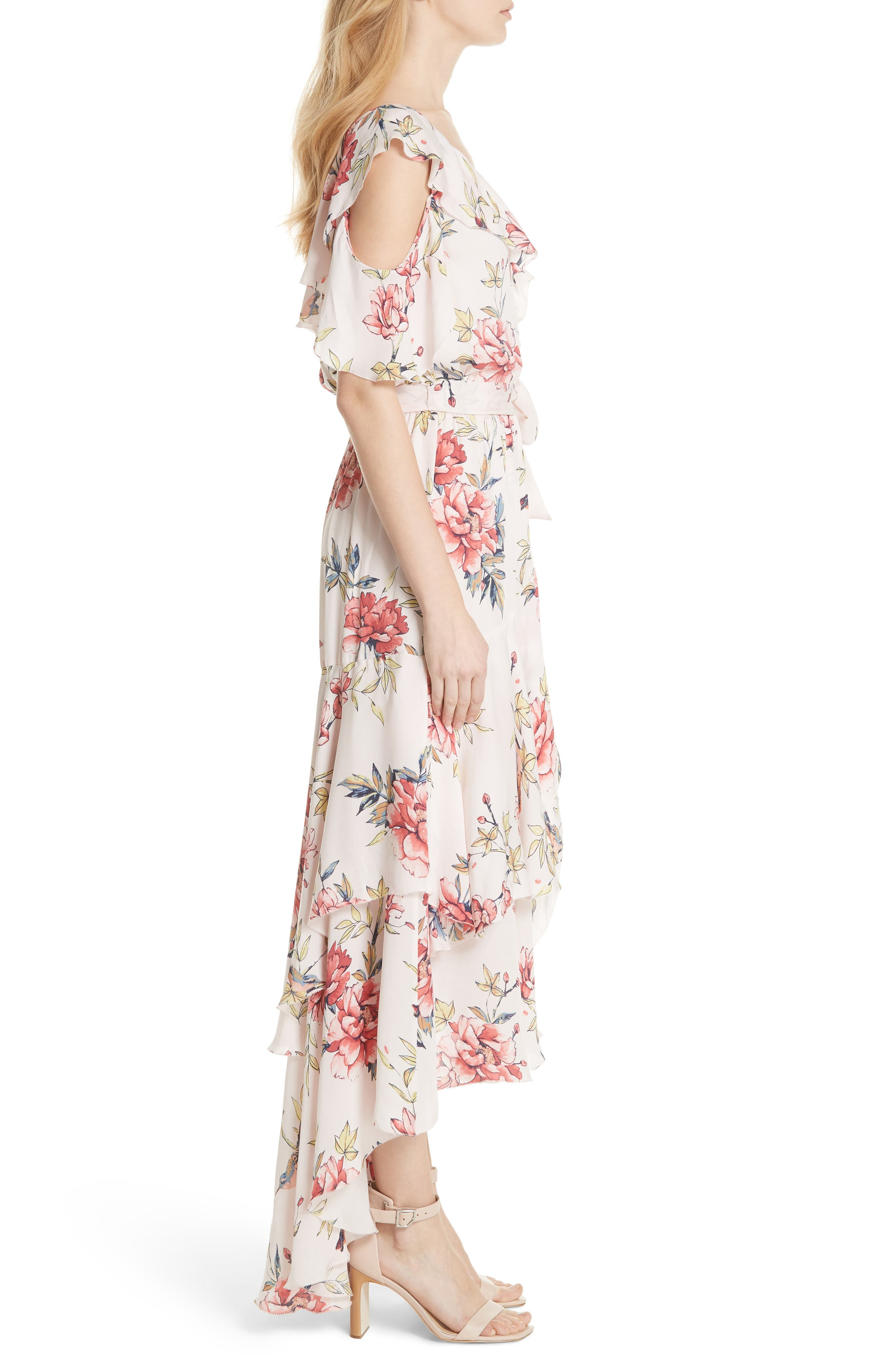Cristeta Floral Silk Maxi Dress,                             Alternate thumbnail 3, color,                             Rosewater
