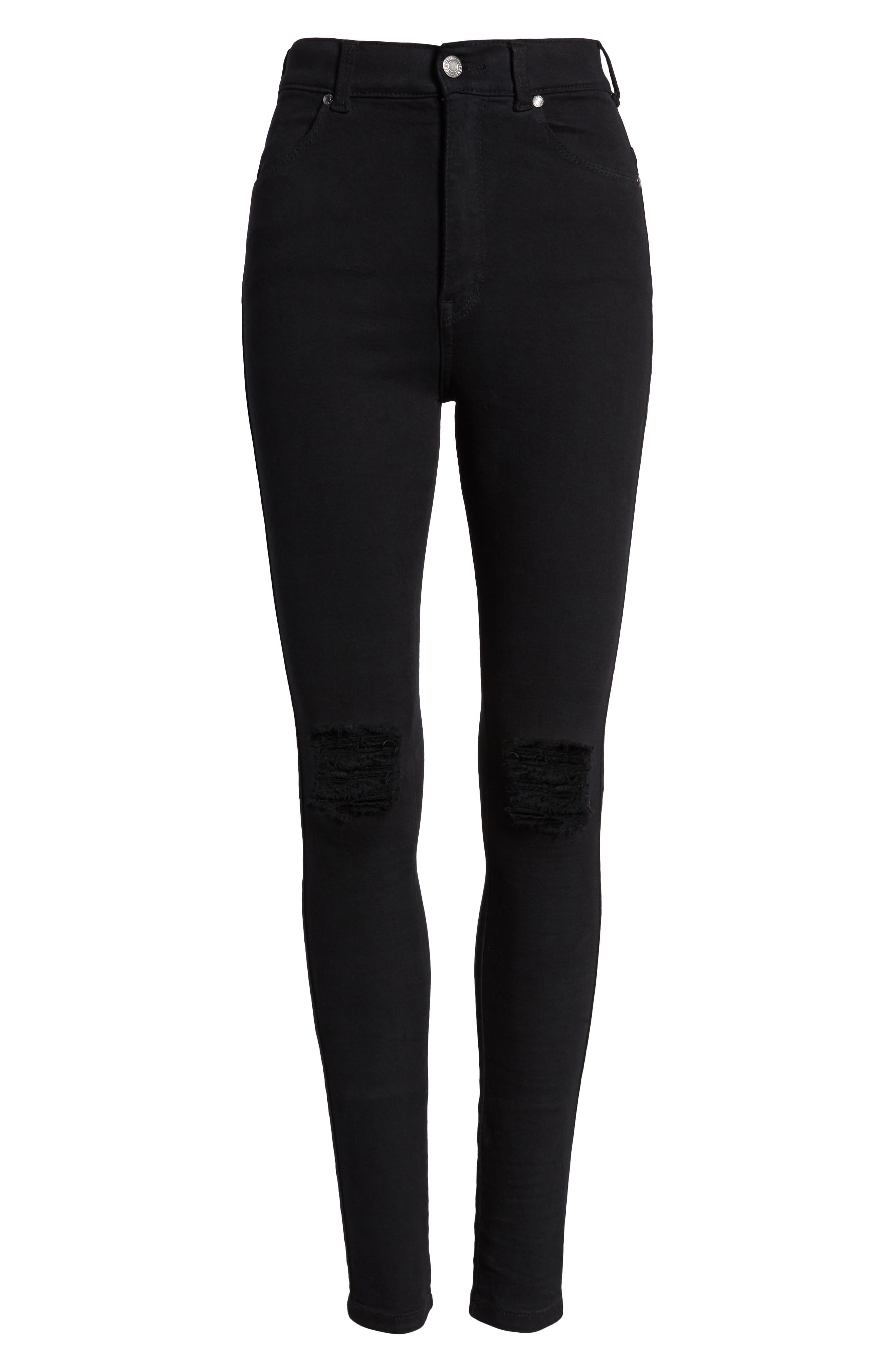 Moxy Ripped Knee Skinny Jeans,                             Alternate thumbnail 7, color,                             Black