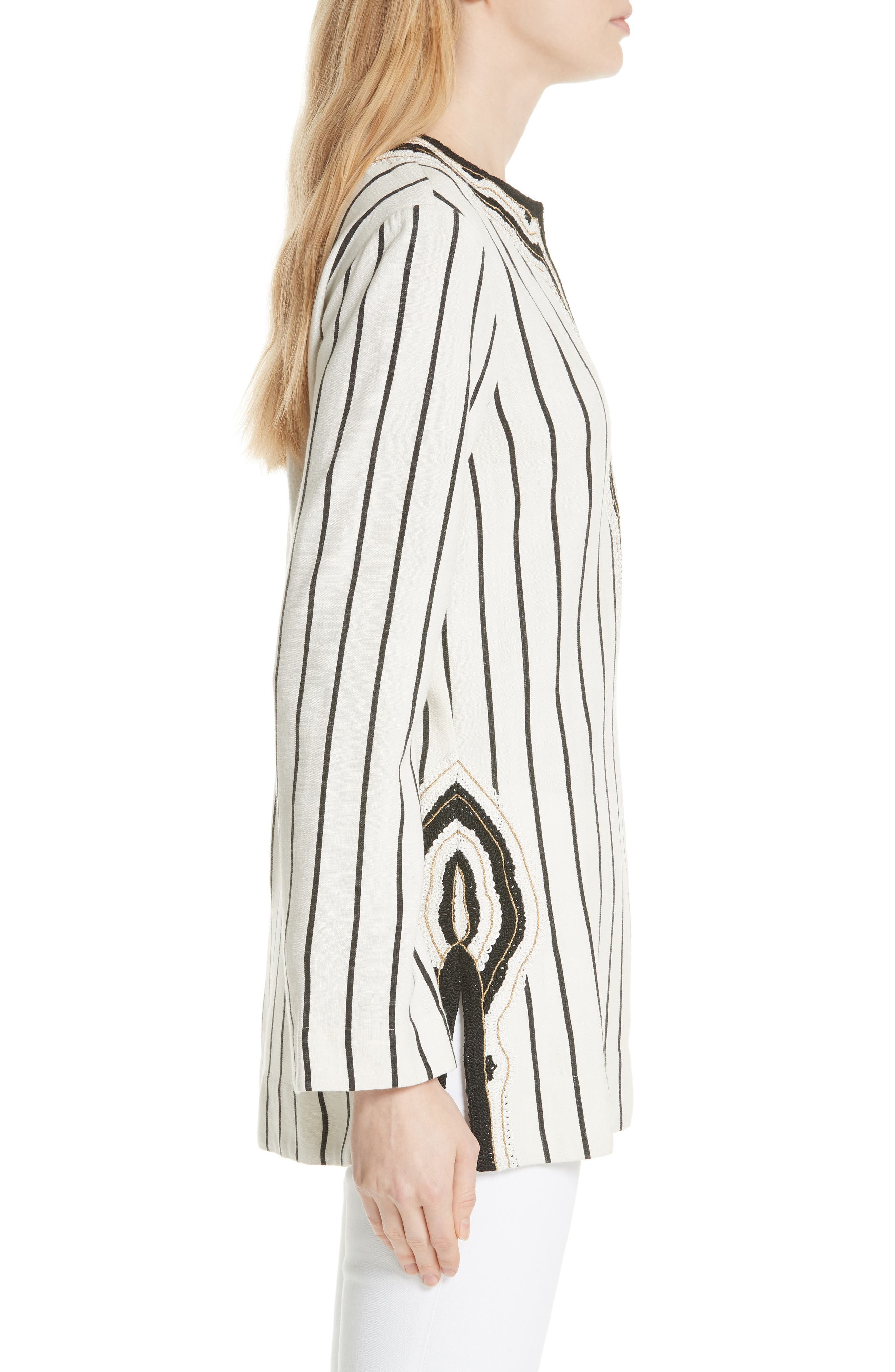 Tory Embellished Stripe Tunic,                             Alternate thumbnail 3, color,                             New Ivory/ Black