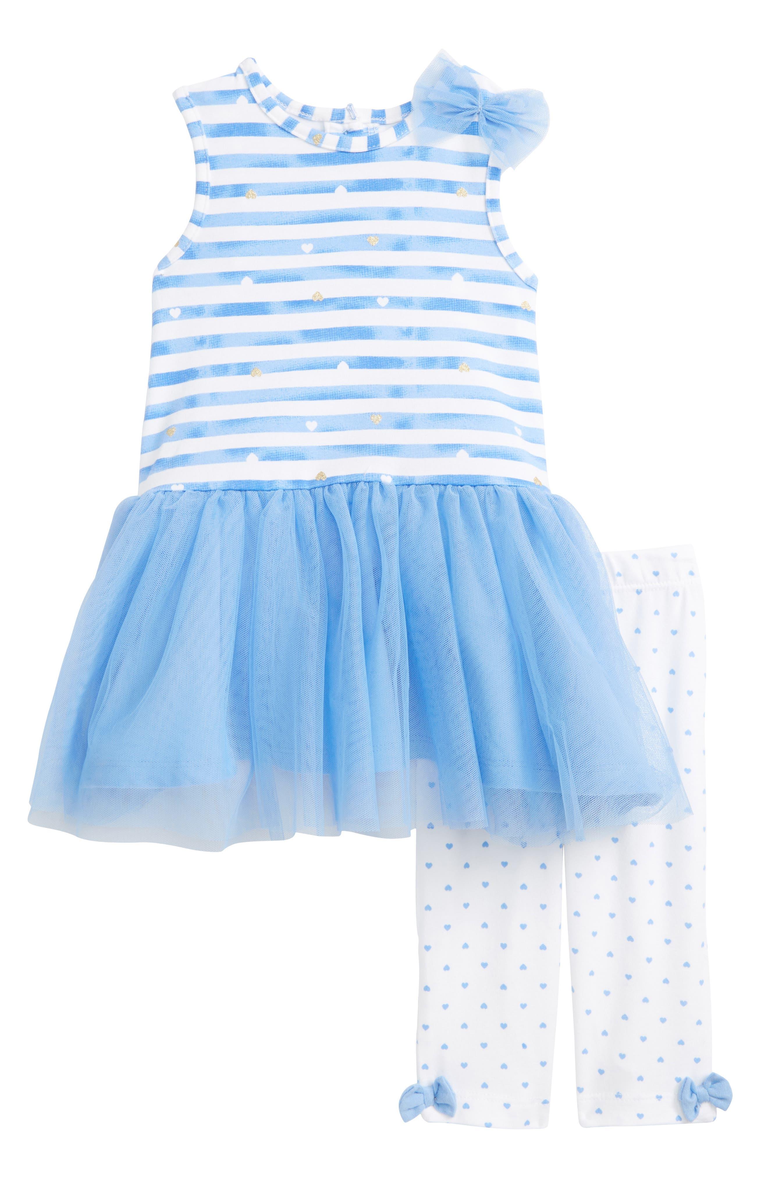 Stripe Dress & Leggings Set,                         Main,                         color, Periwinkle