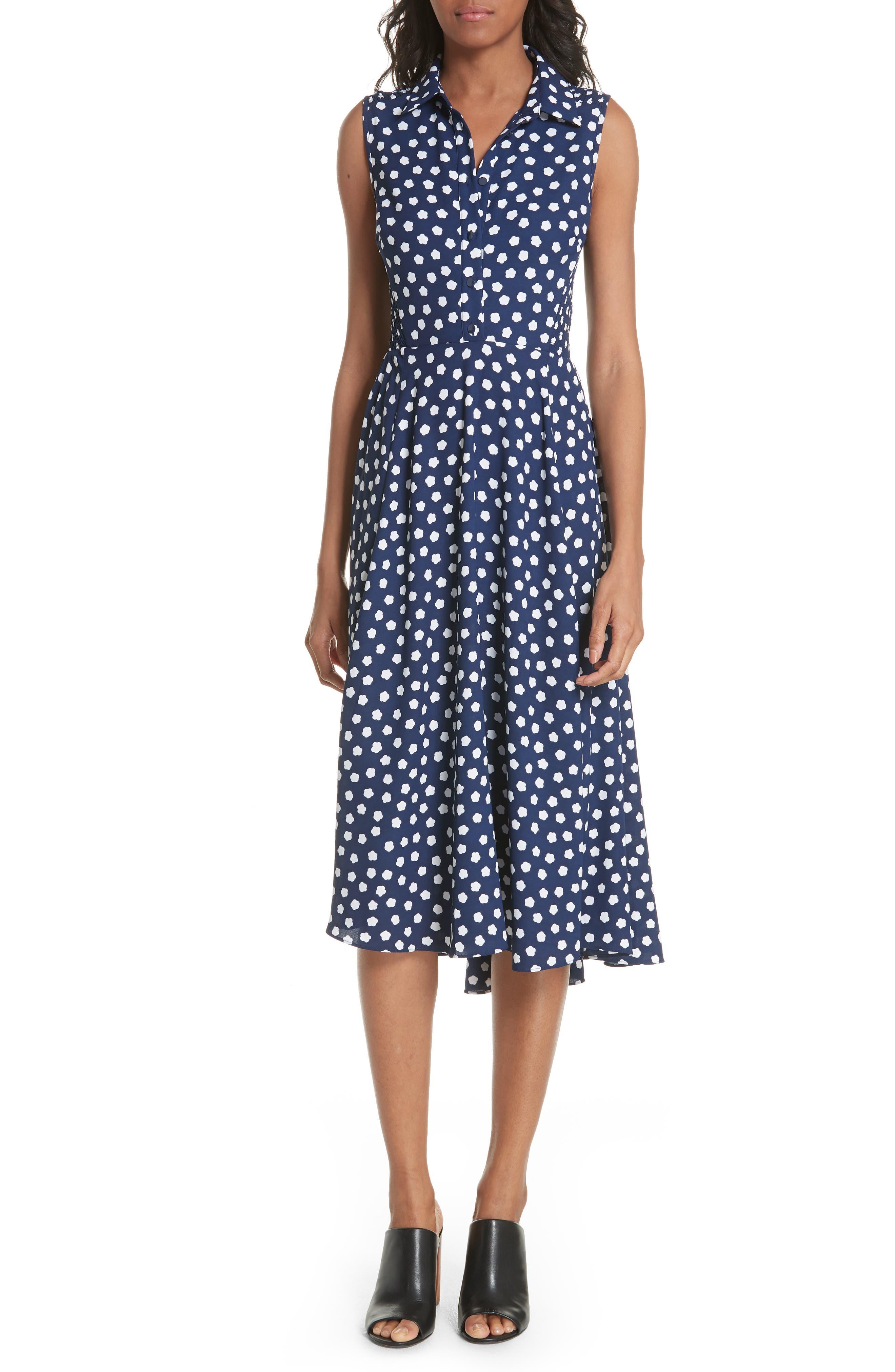 cloud dot midi dress,                             Main thumbnail 1, color,                             French Navy/ Fresh White