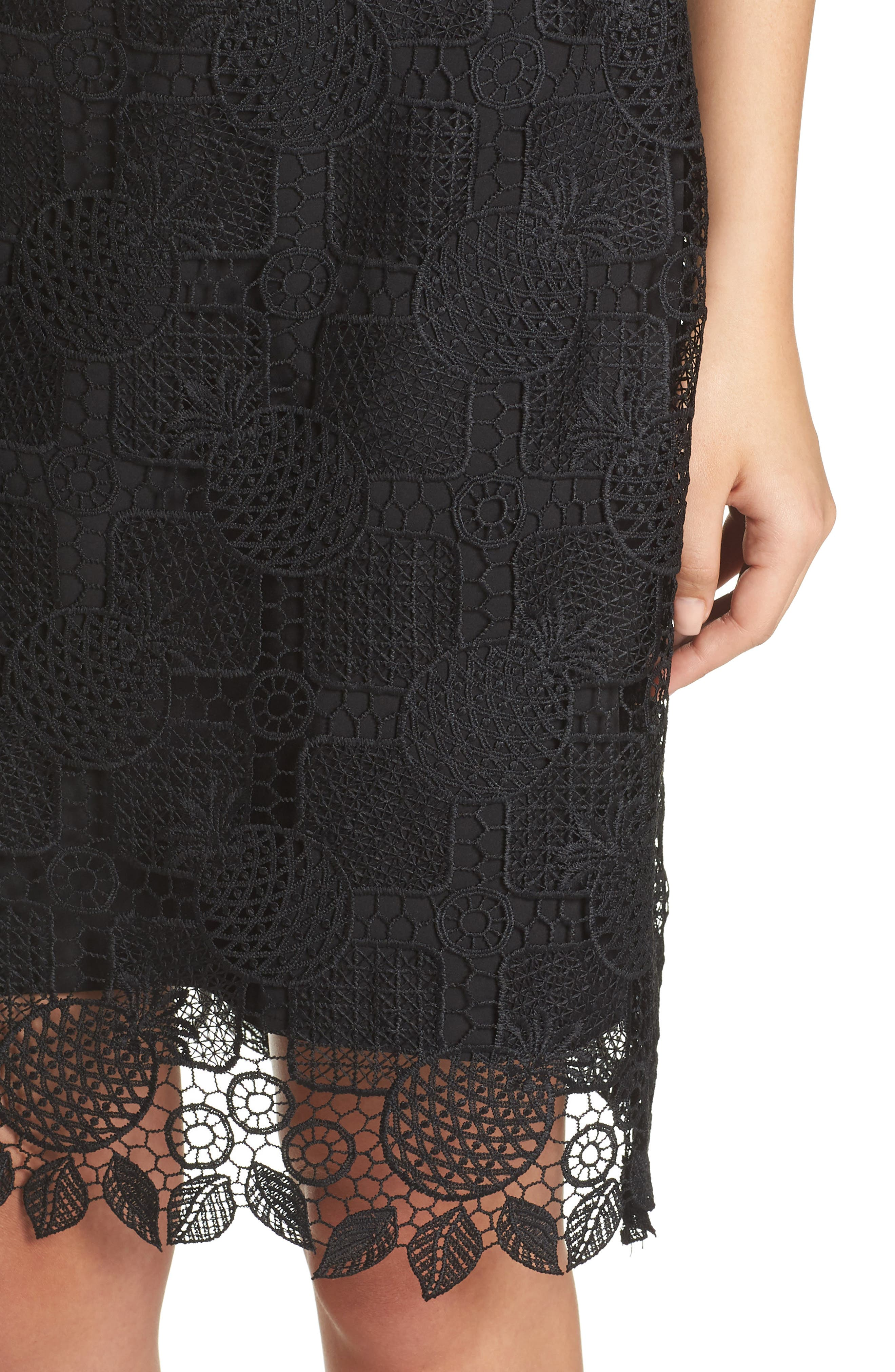 Strapless Lace Dress,                             Alternate thumbnail 4, color,                             Black
