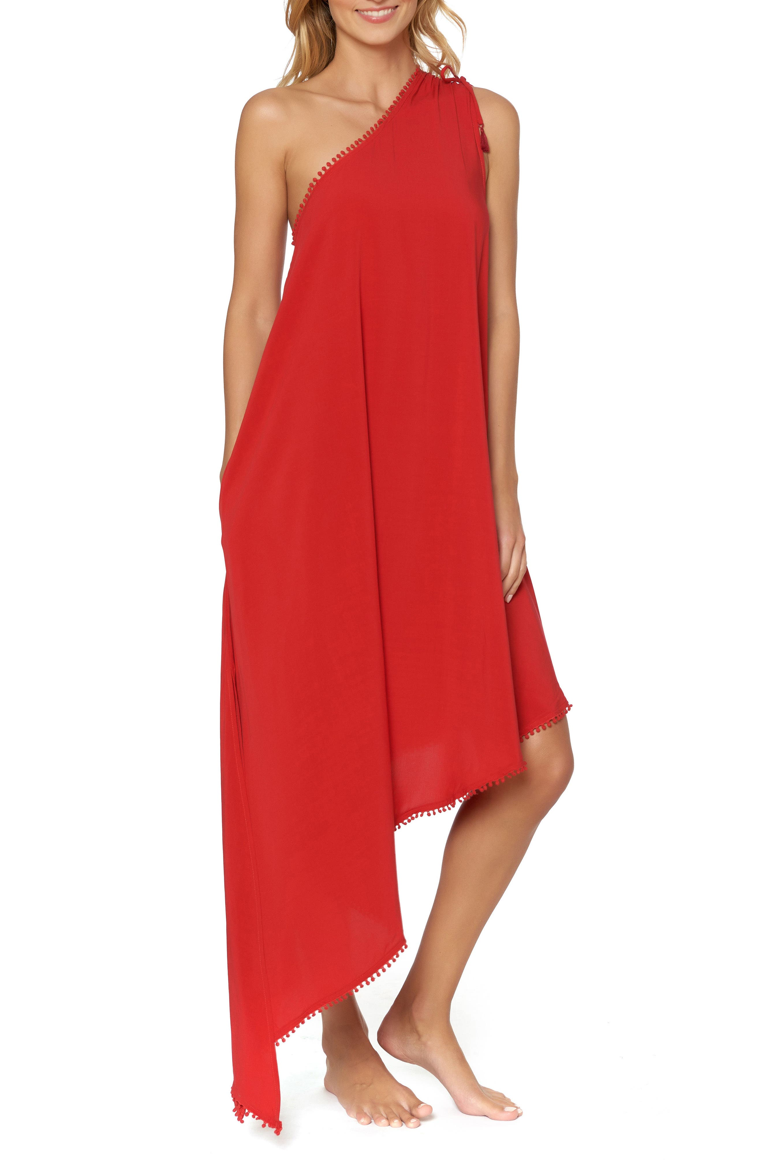 One-Shoulder Maxi Cover-Up Dress,                             Alternate thumbnail 3, color,                             Ruby