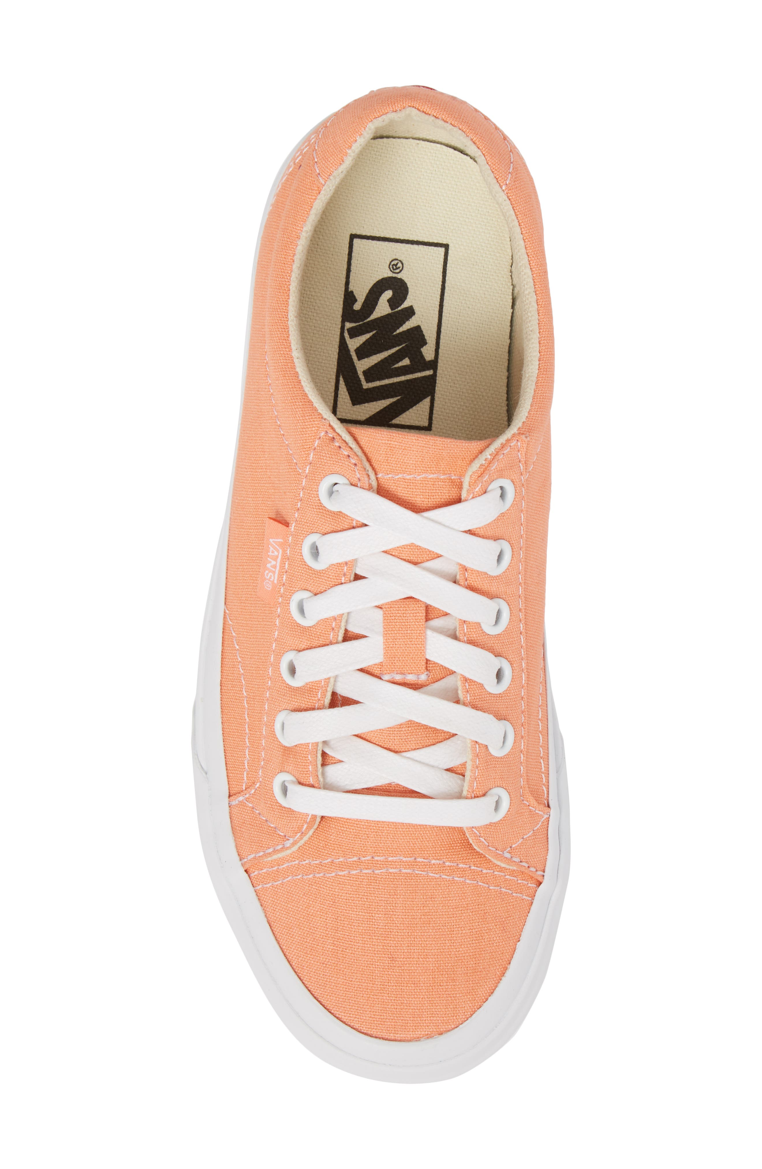 UA Court Low Top Sneaker,                             Alternate thumbnail 5, color,                             Peach Pink/ True White