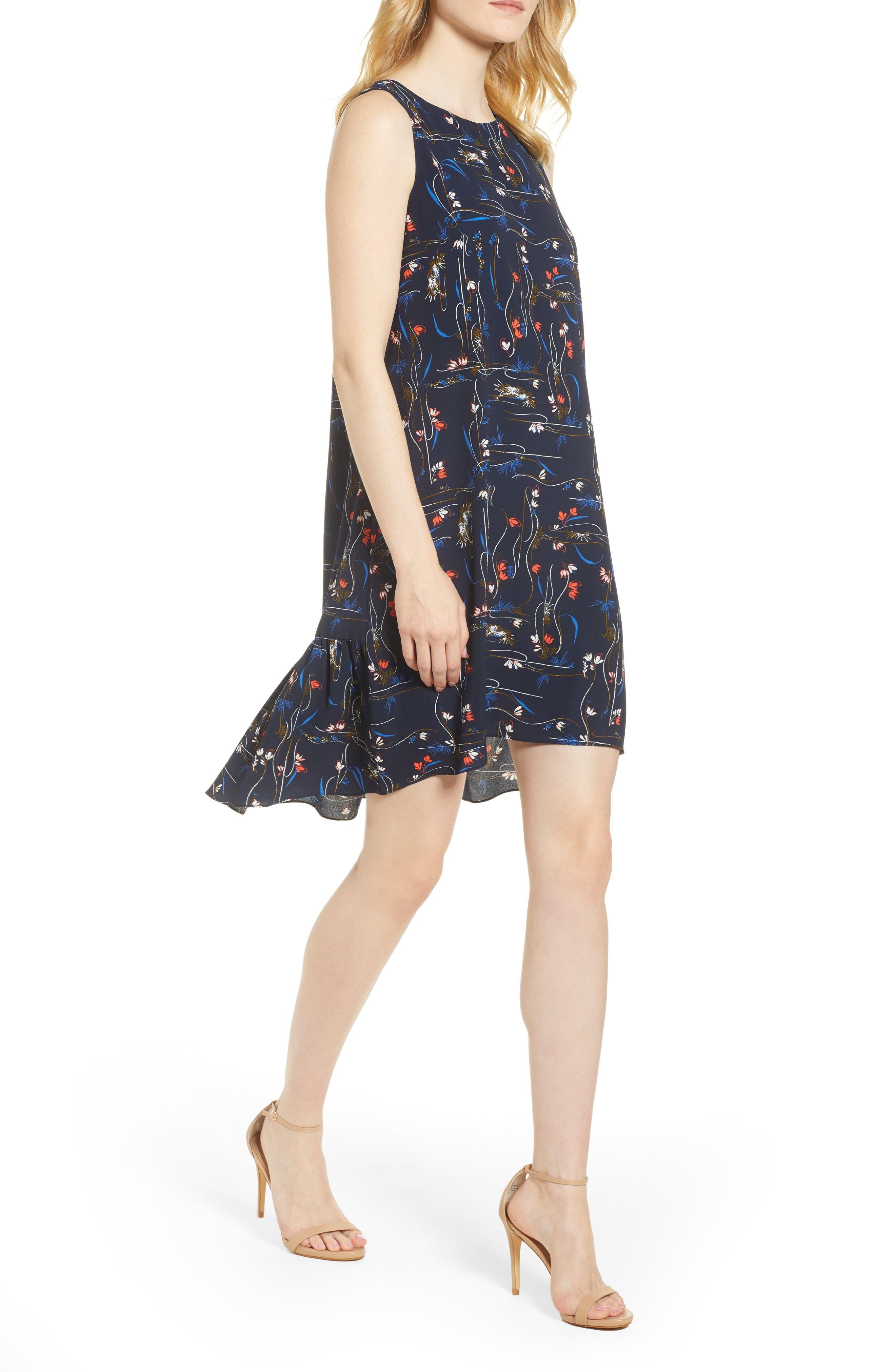Zipper Back Ruffle Dress,                             Main thumbnail 1, color,                             Navy Iris Garden Flow
