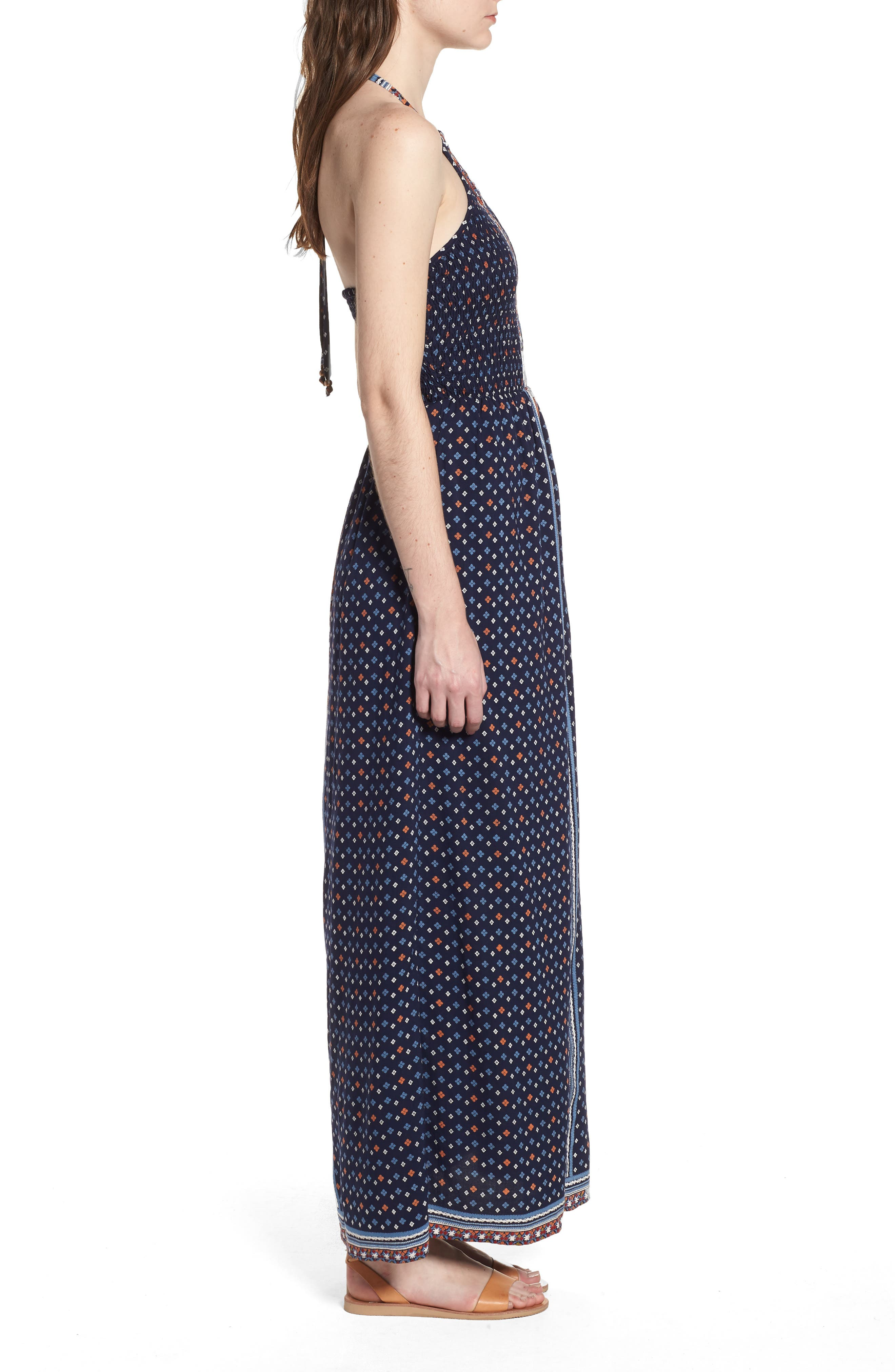 Halter Neck Maxi Romper,                             Alternate thumbnail 3, color,                             Navy
