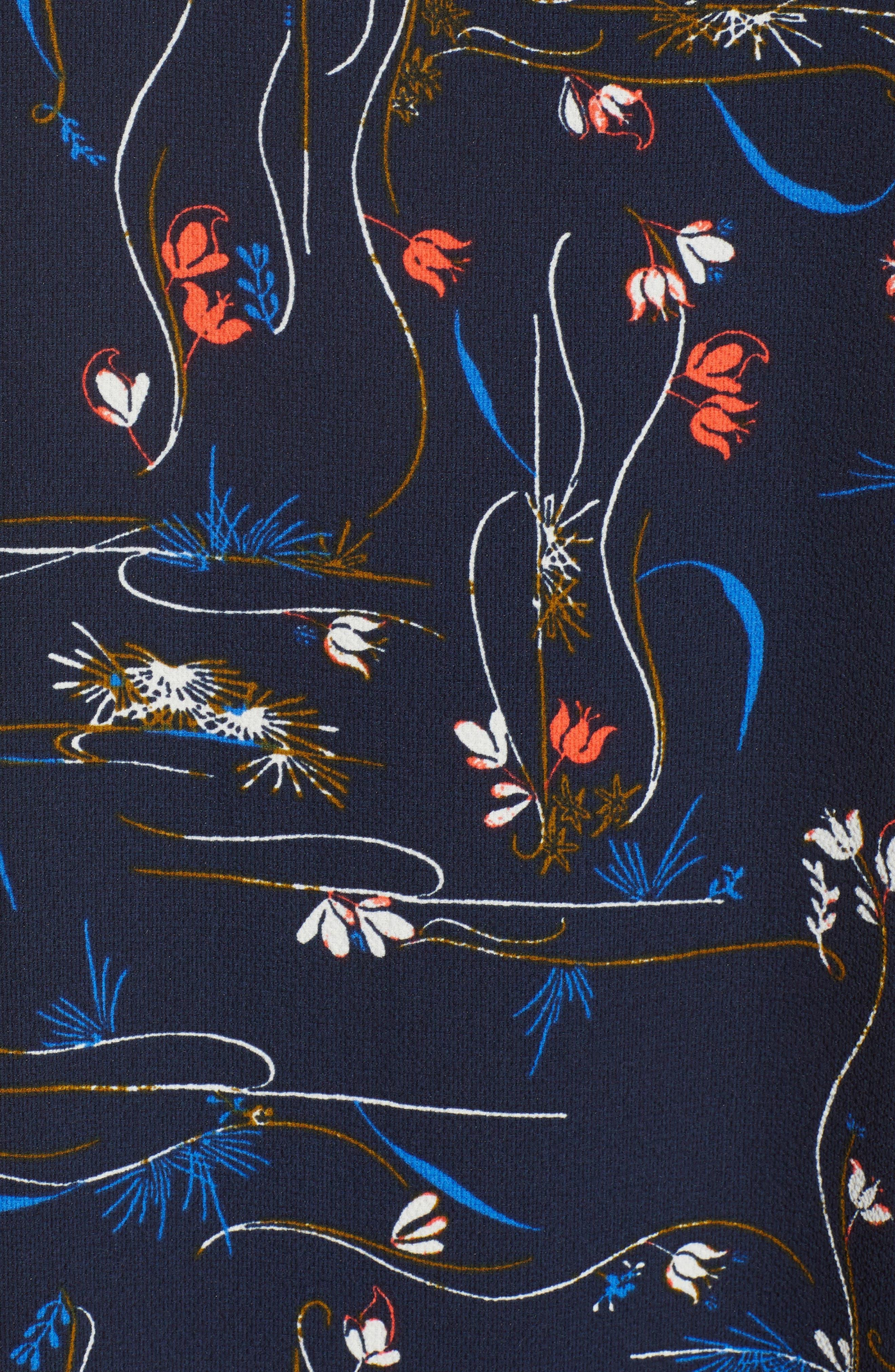 Zipper Back Ruffle Dress,                             Alternate thumbnail 6, color,                             Navy Iris Garden Flow