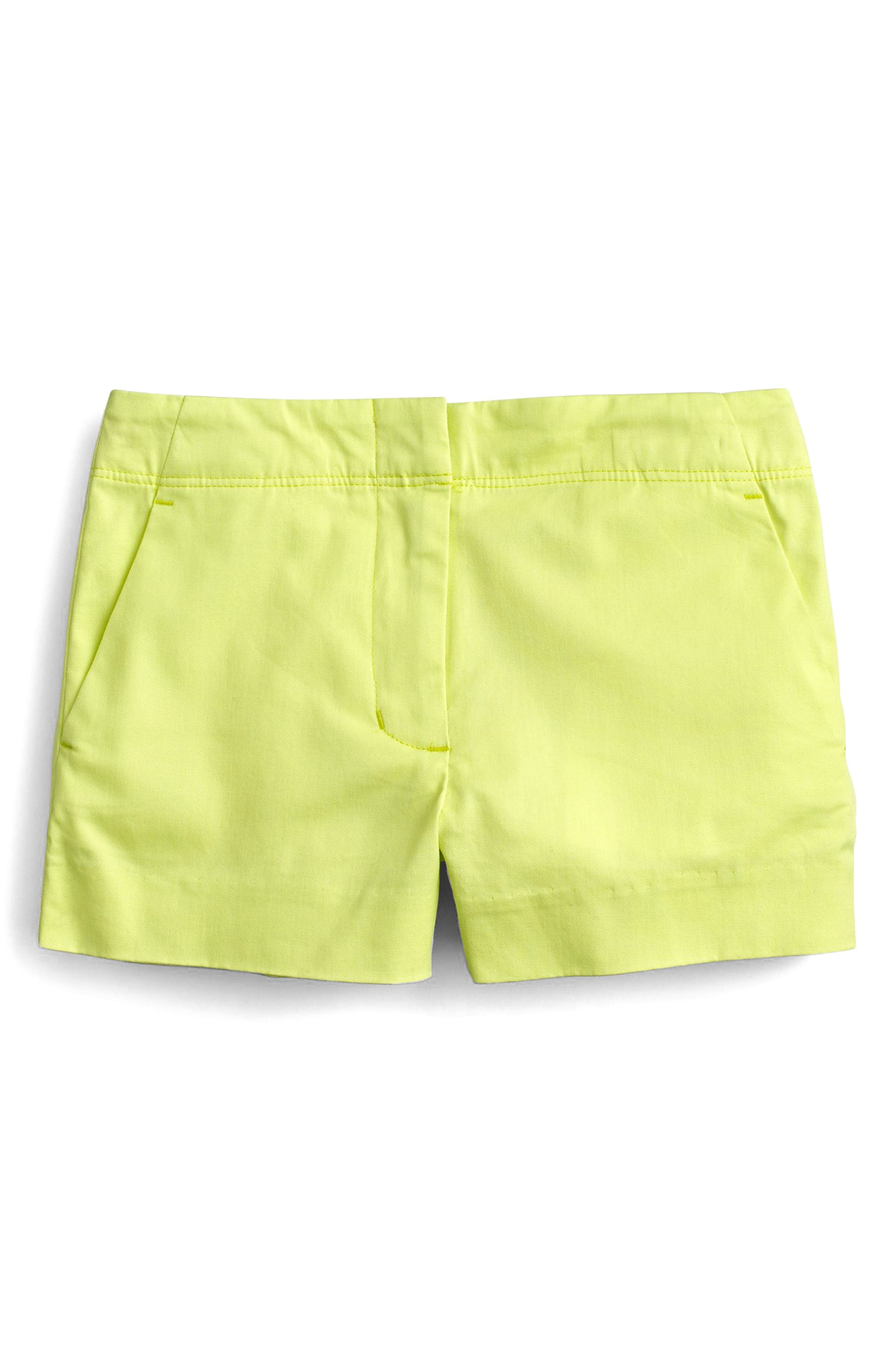 Frankie Stretch Cotton Shorts,                             Main thumbnail 1, color,                             Neon Citron
