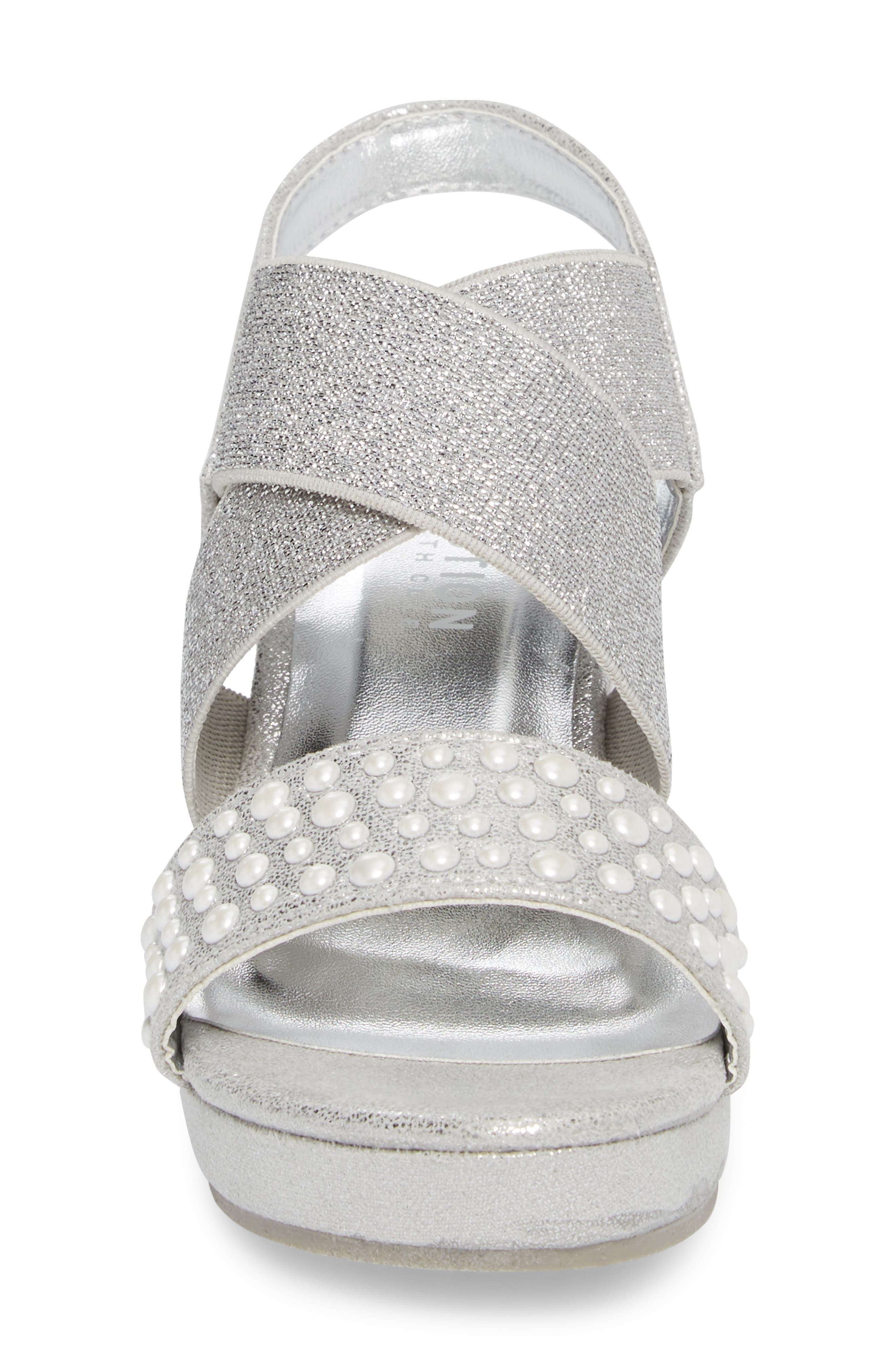 Reed Glimmer Wedge Sandal,                             Alternate thumbnail 4, color,                             Silver