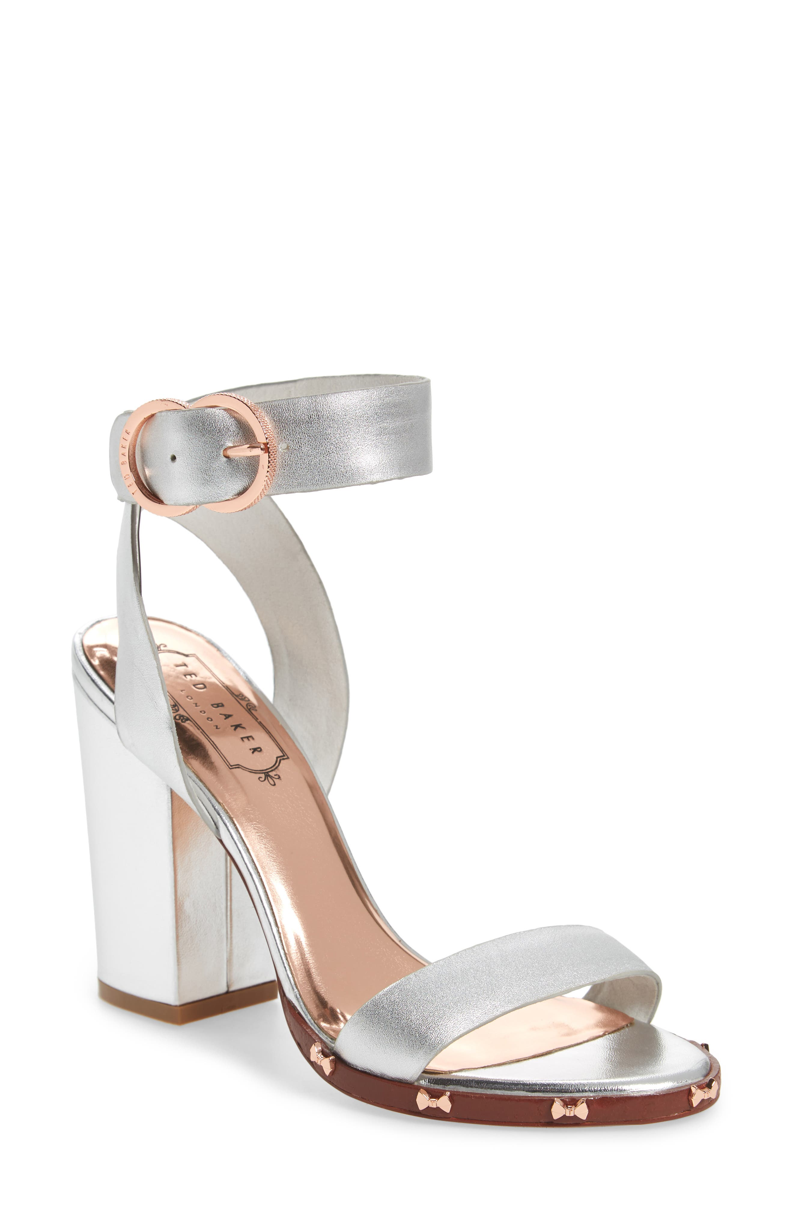 Lylea Block Heel Sandal,                             Main thumbnail 1, color,                             Silver Leather