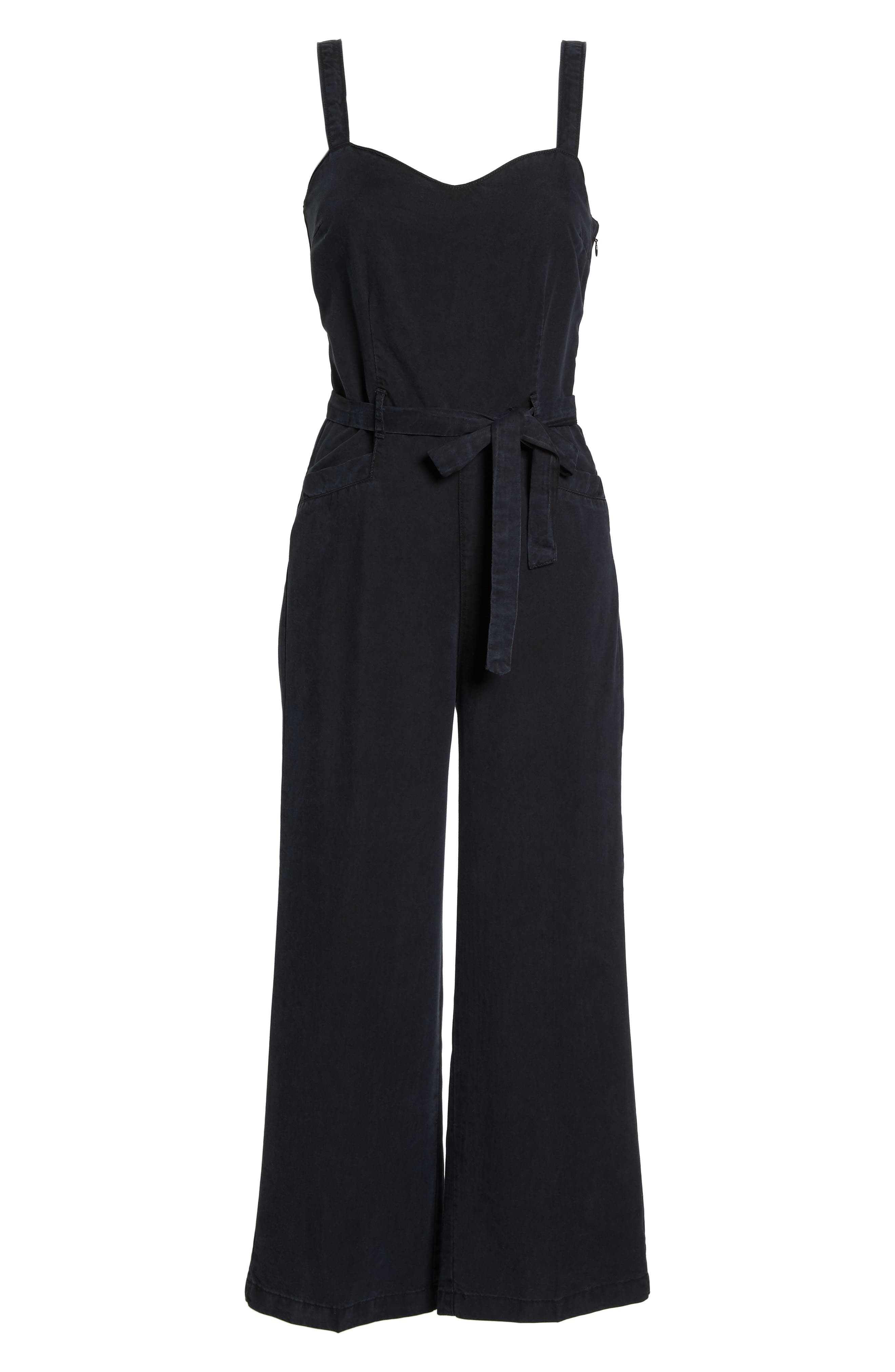 Emma Tie-Waist Jumpsuit,                             Alternate thumbnail 7, color,                             Black Pearl
