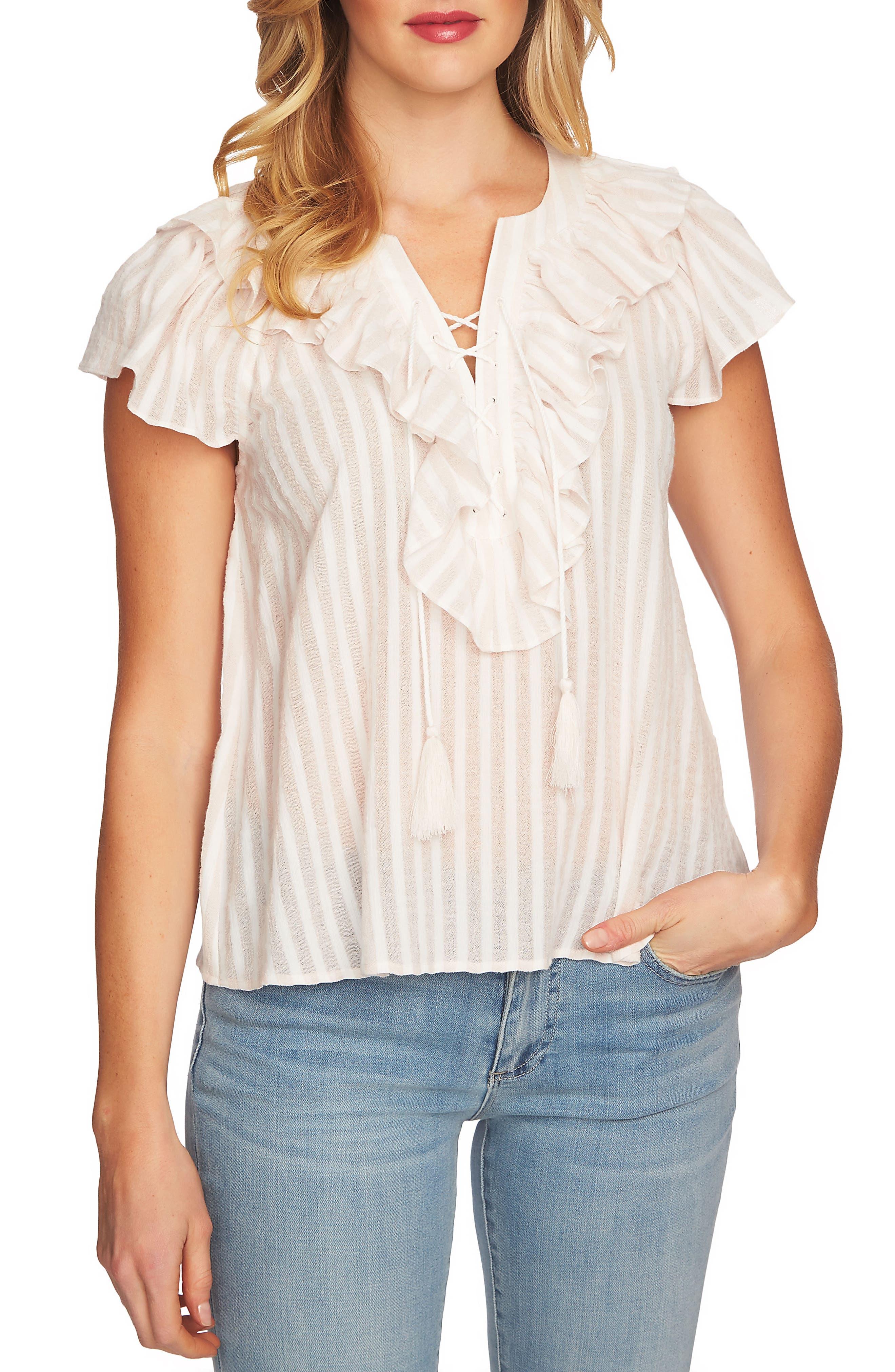 Lace Up Ruffle Stripe Cotton Blouse,                             Main thumbnail 1, color,                             Floret Pink