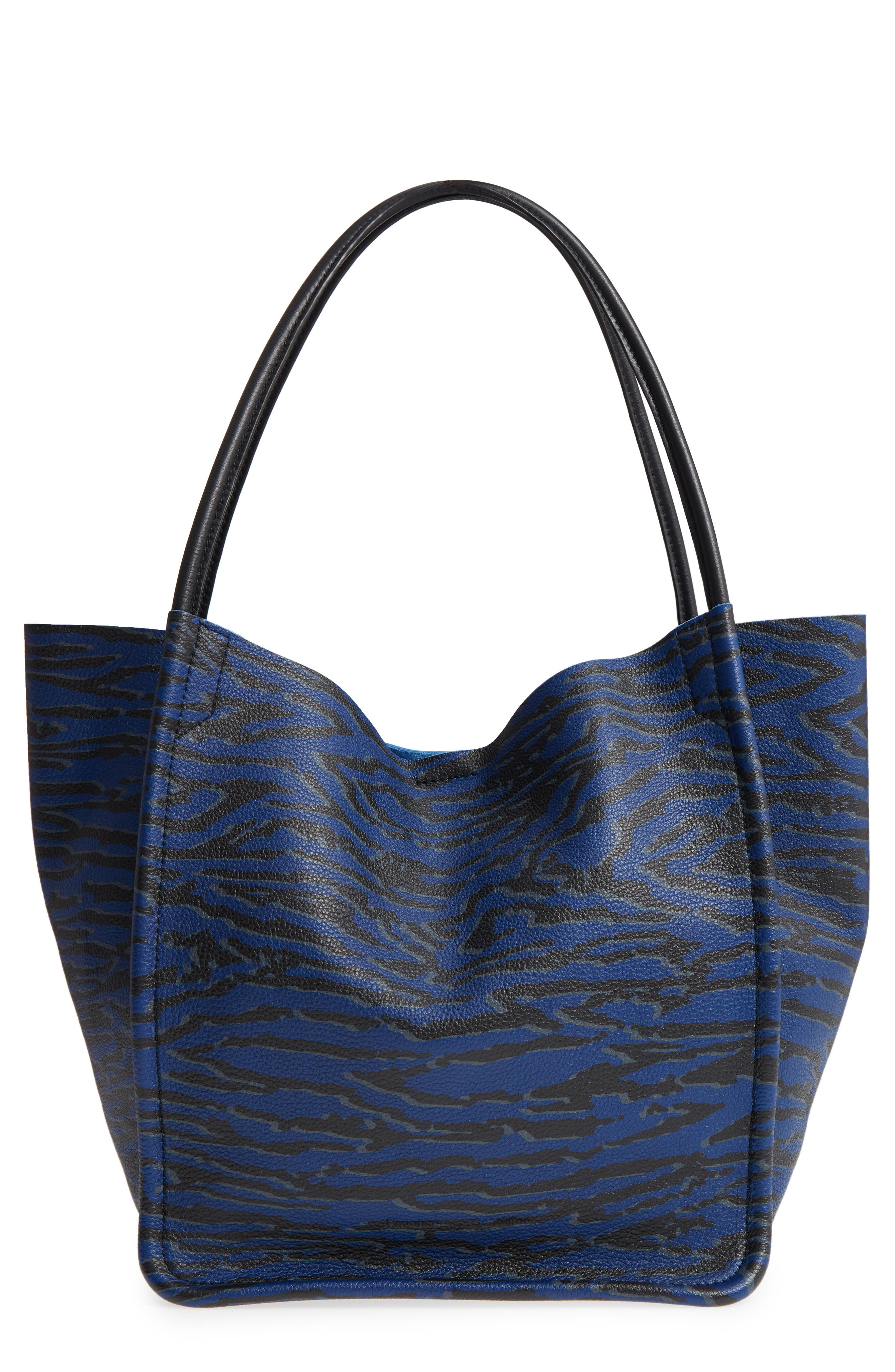 LARGE CALFSKIN LEATHER TOTE - BLUE