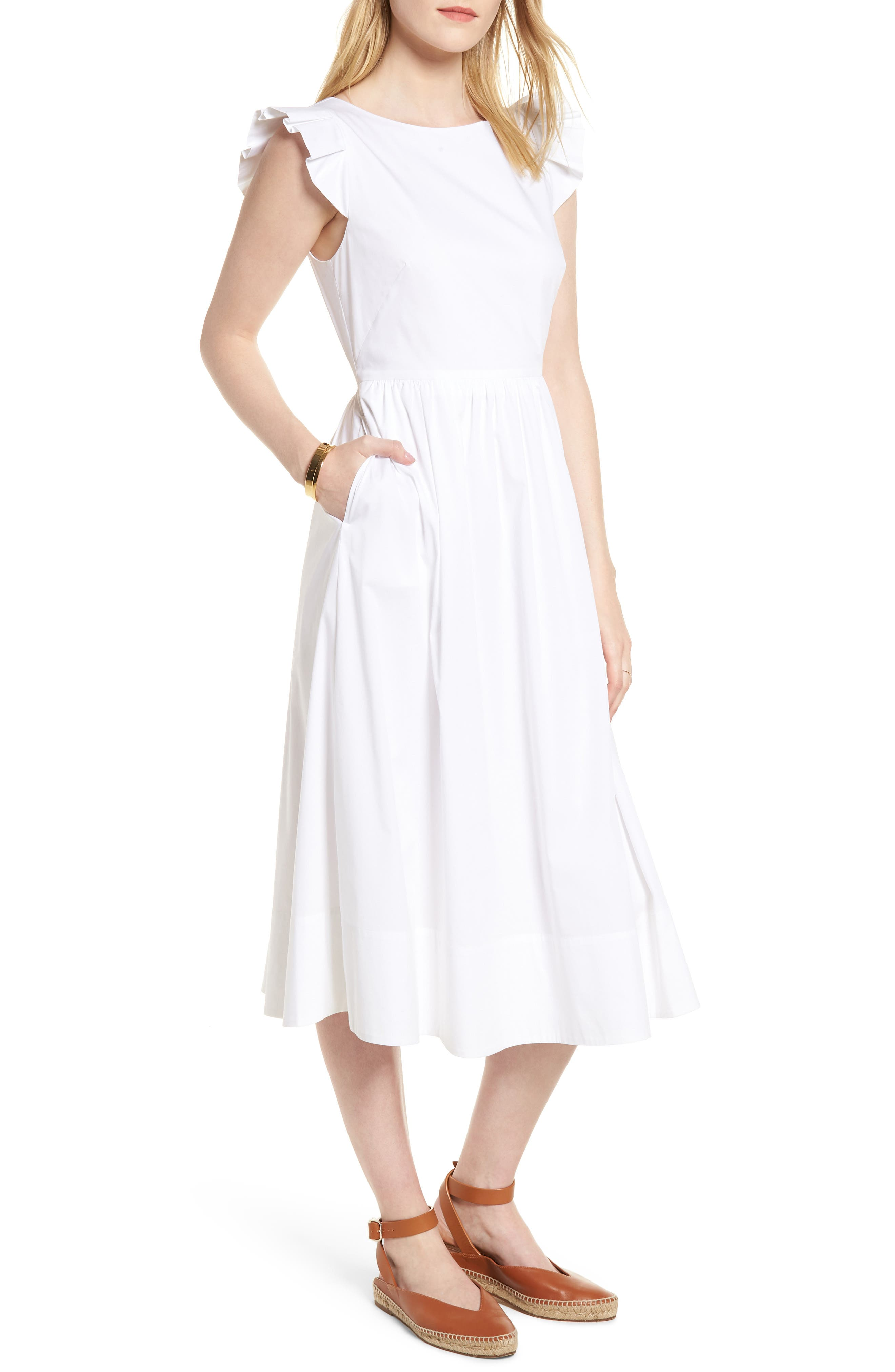 Ruffle Fit & Flare Midi Dress,                         Main,                         color, White