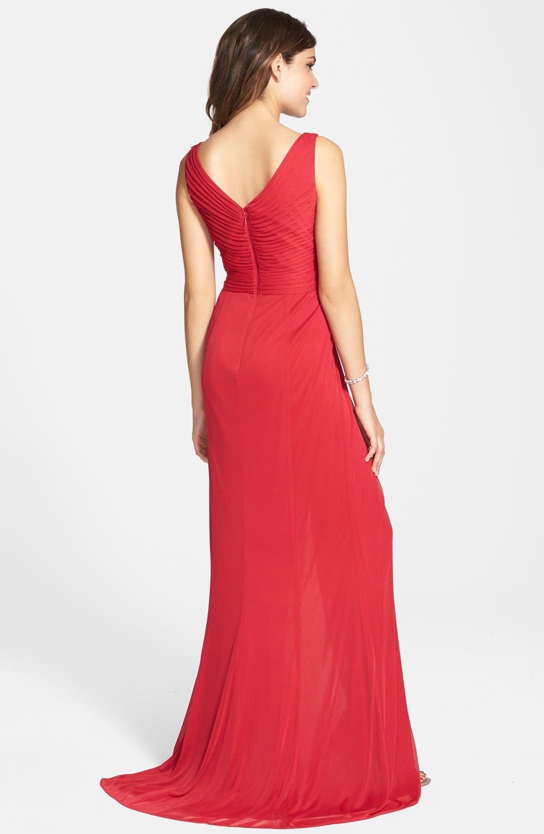 Alternate Image 2  - Adrianna Papell Sequin Tulle Faux Wrap Gown