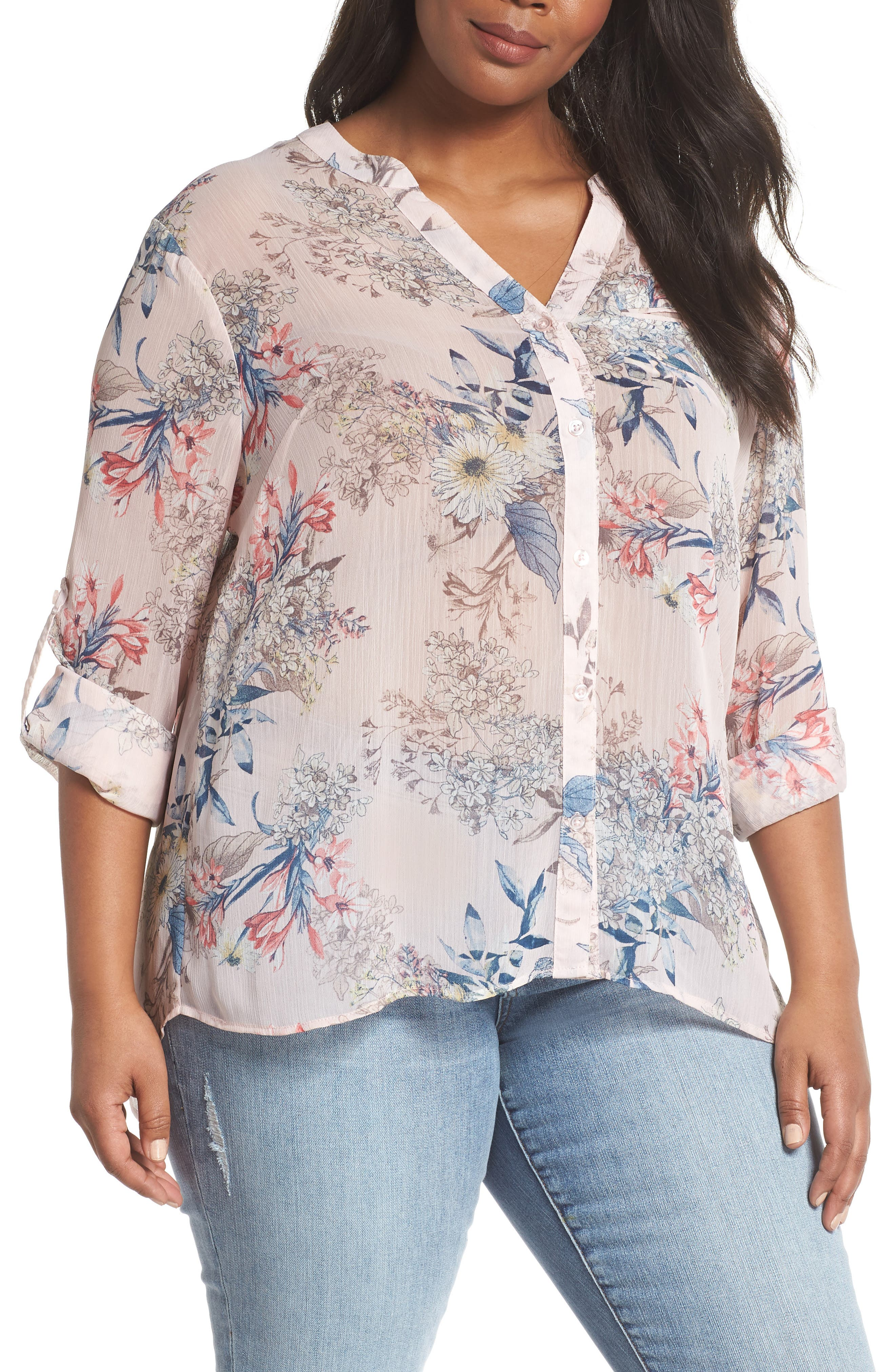 Jasmine Floral Roll Sleeve Top,                             Main thumbnail 1, color,                             Pale Pink