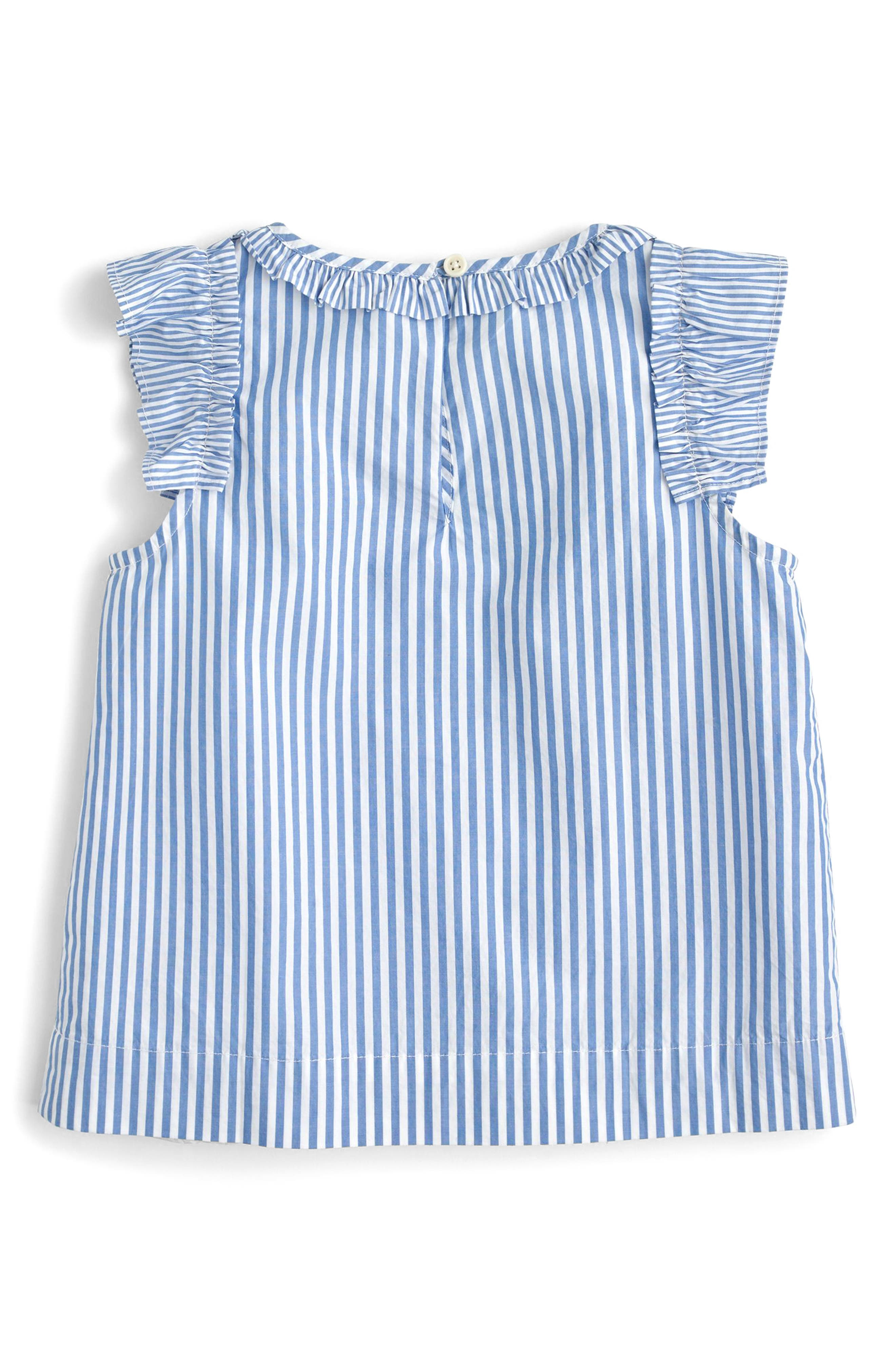 Sarah Ruffle Sleeve Striped Top,                             Alternate thumbnail 2, color,                             Blue White