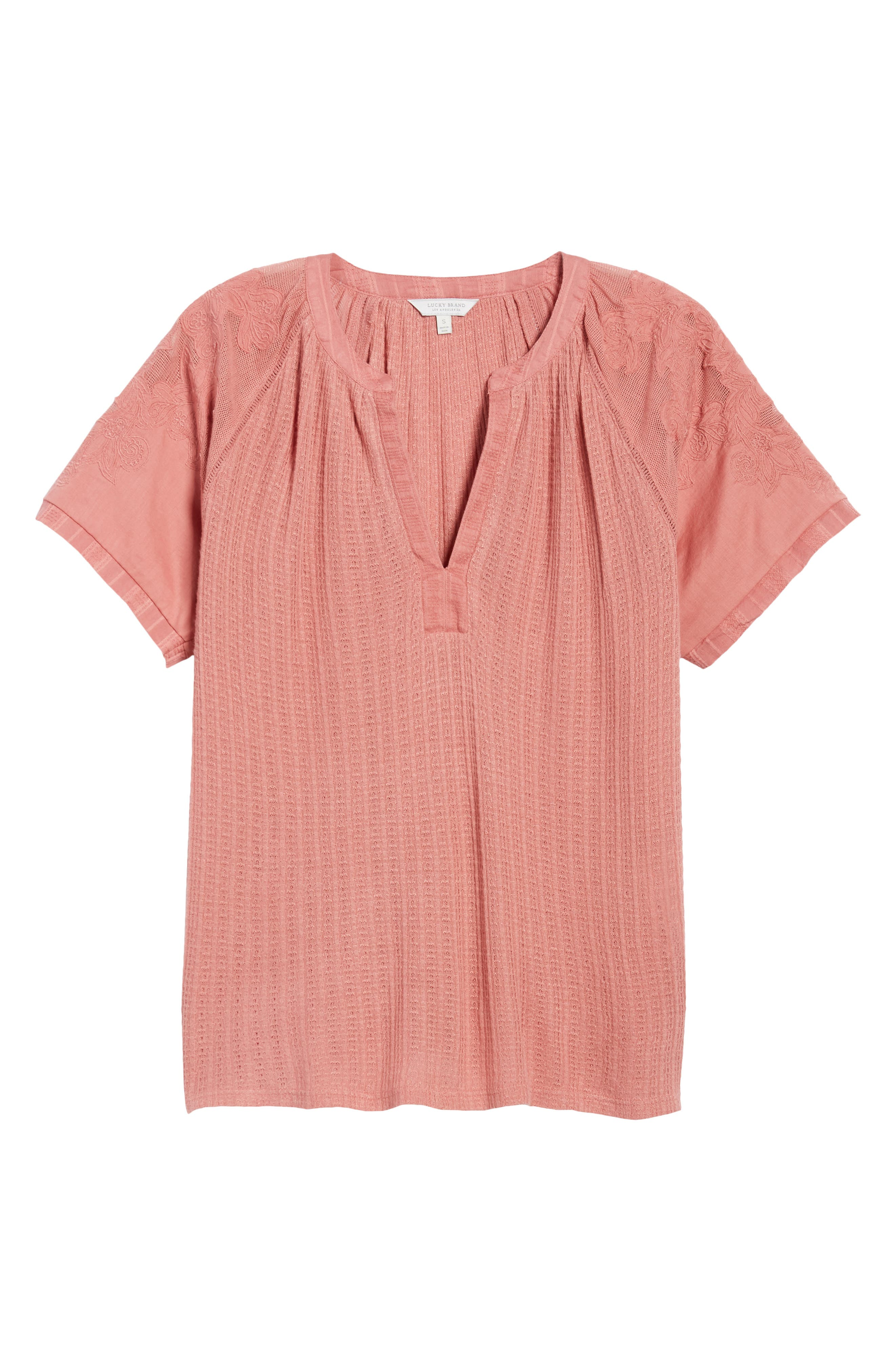 Floral Sleeve Top,                             Alternate thumbnail 2, color,                             Rose