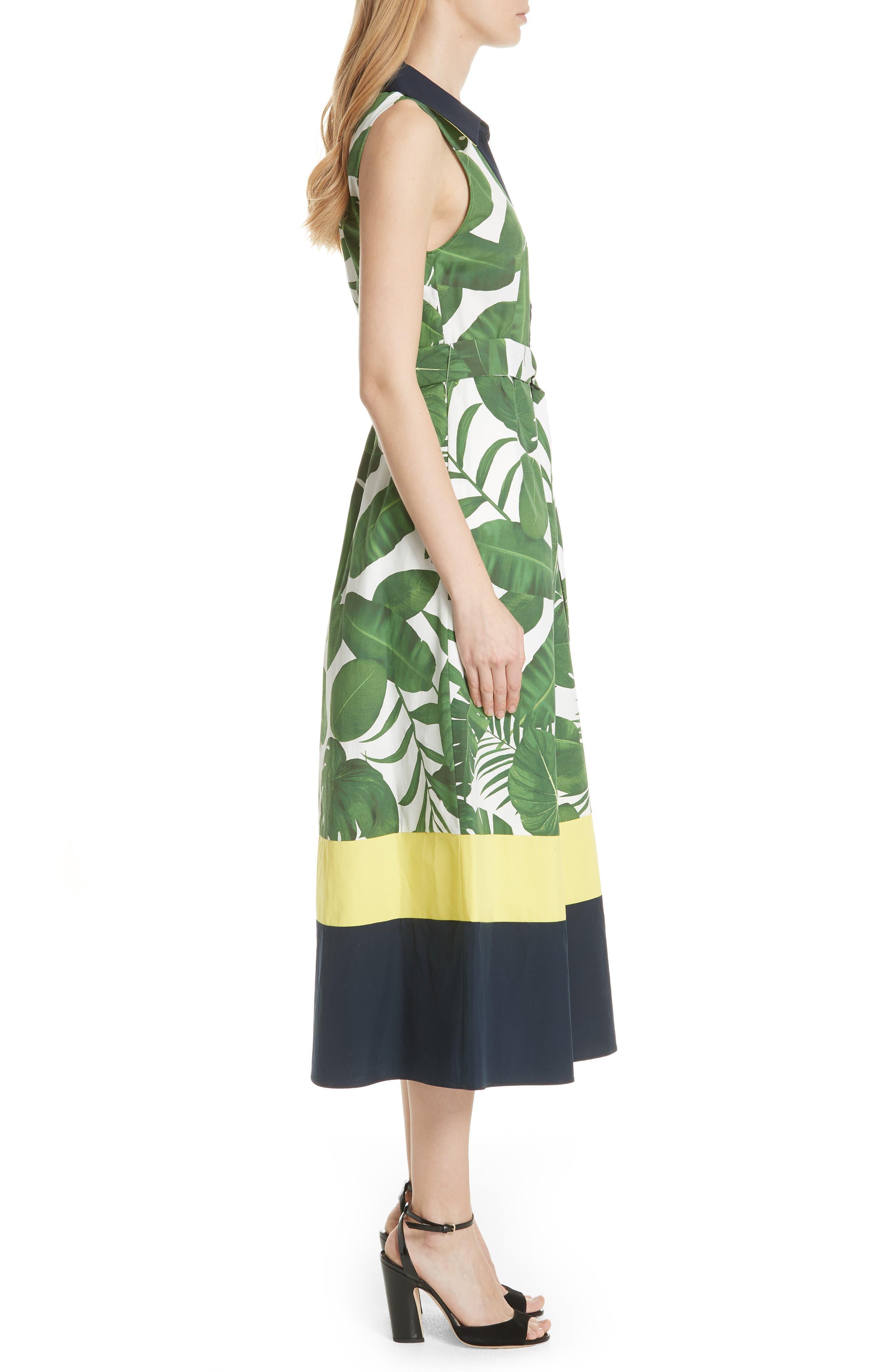 Margot Leaf Print Midi Dress,                             Alternate thumbnail 3, color,                             Tropical Leaves