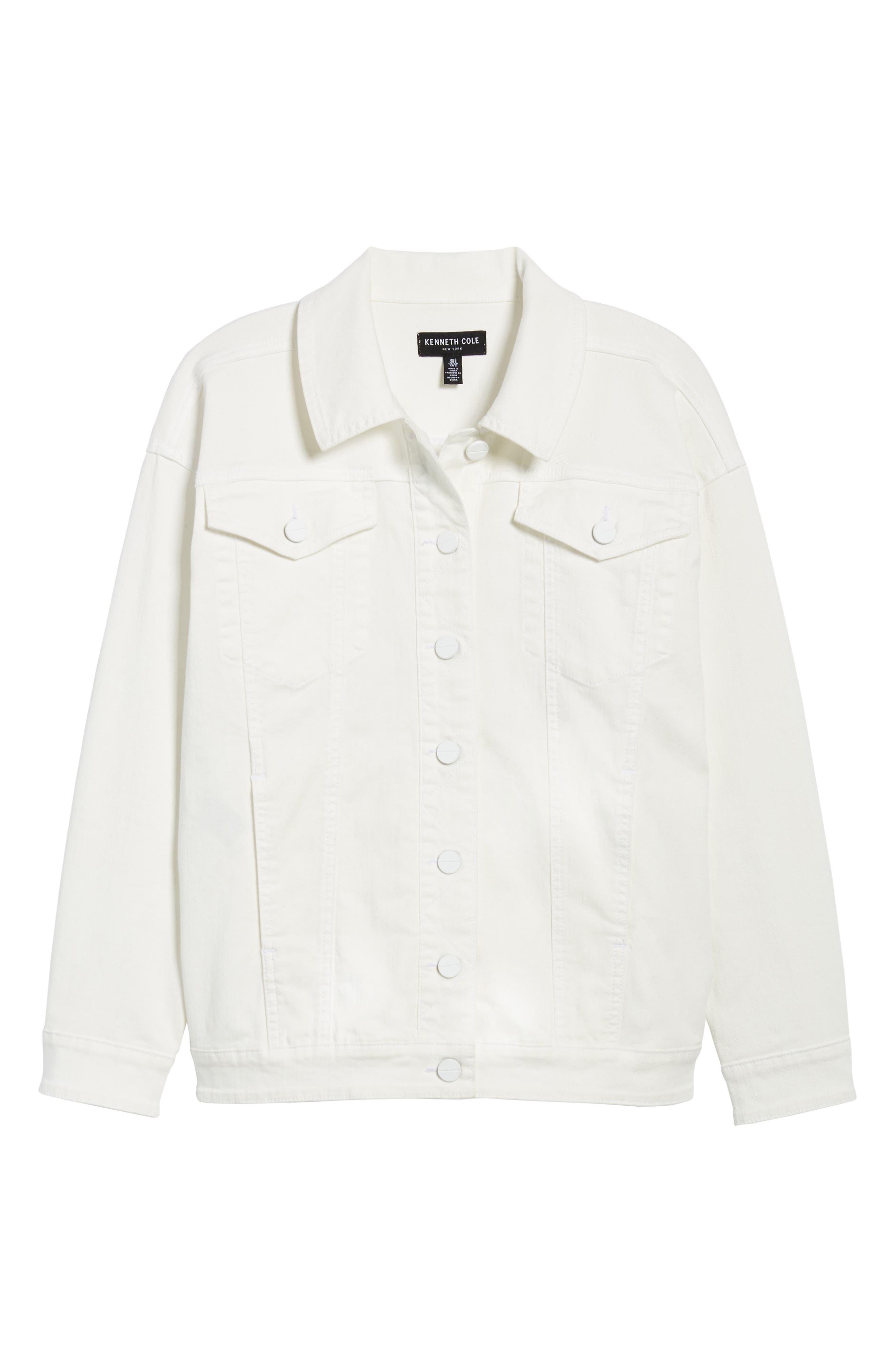 Relaxed White Denim Jacket,                             Alternate thumbnail 7, color,                             White