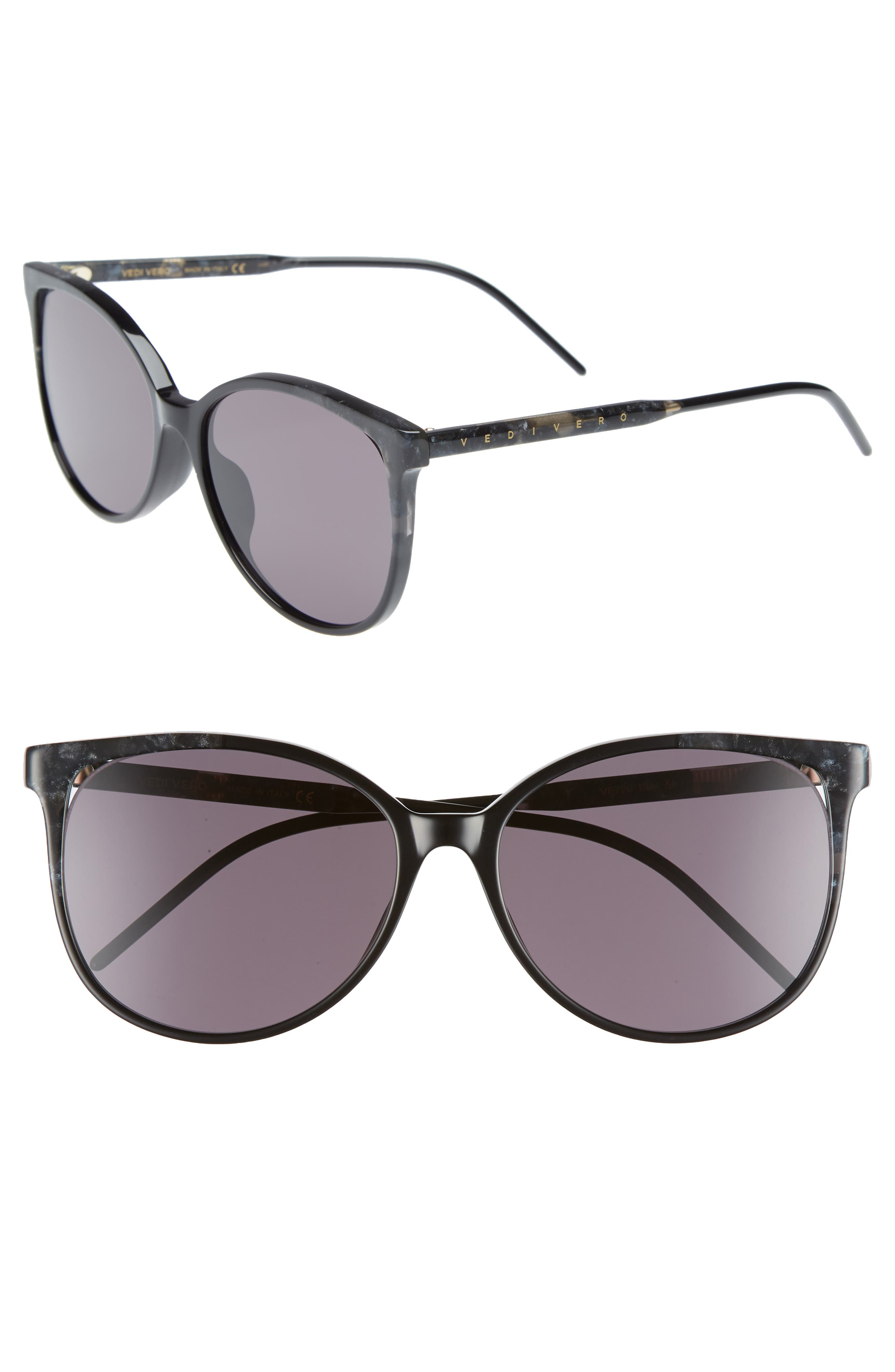 59mm Round Sunglasses,                             Main thumbnail 1, color,                             Black/Brown