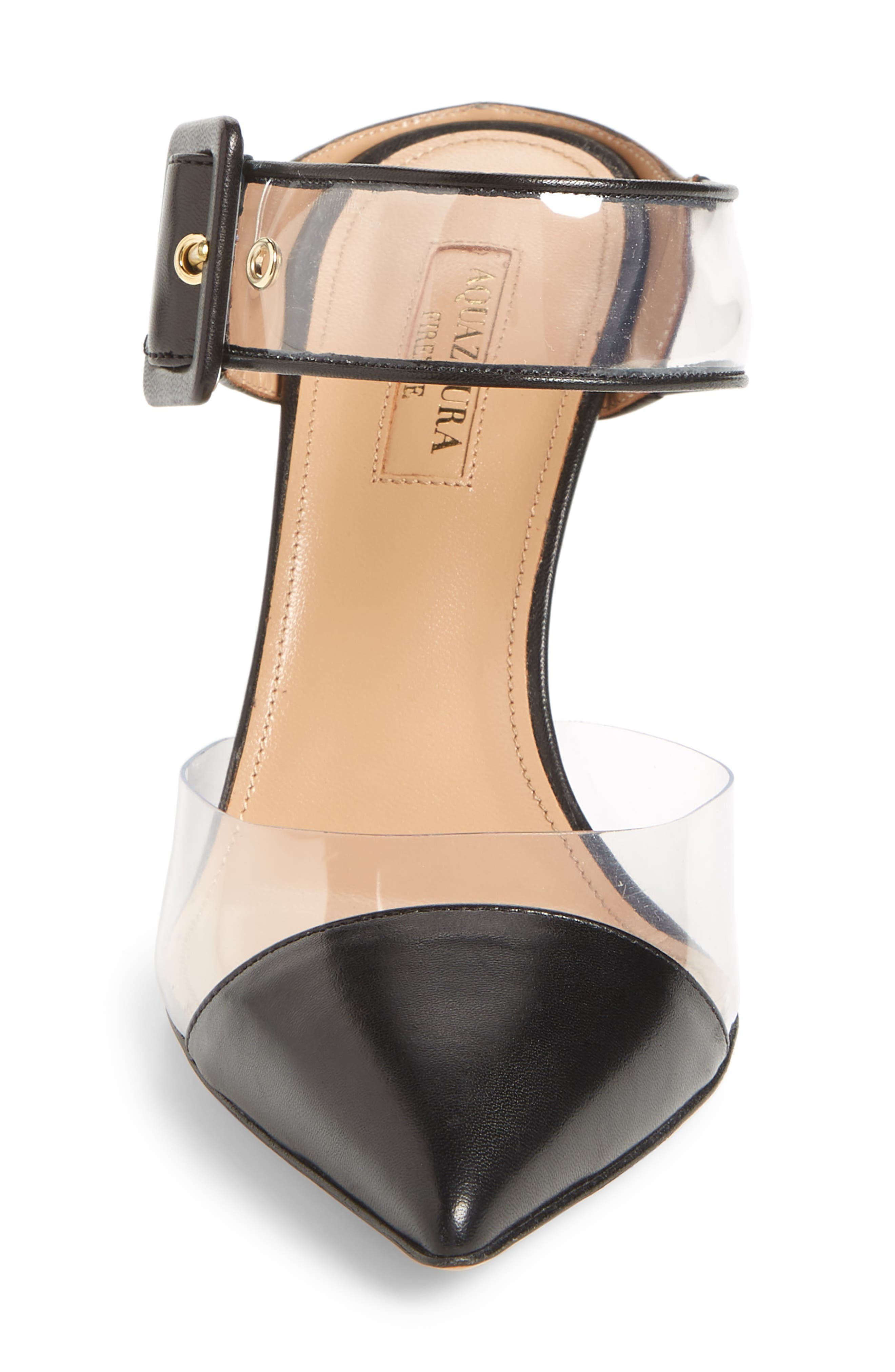 Optic Clear Pointy Toe Mule,                             Alternate thumbnail 4, color,                             Black