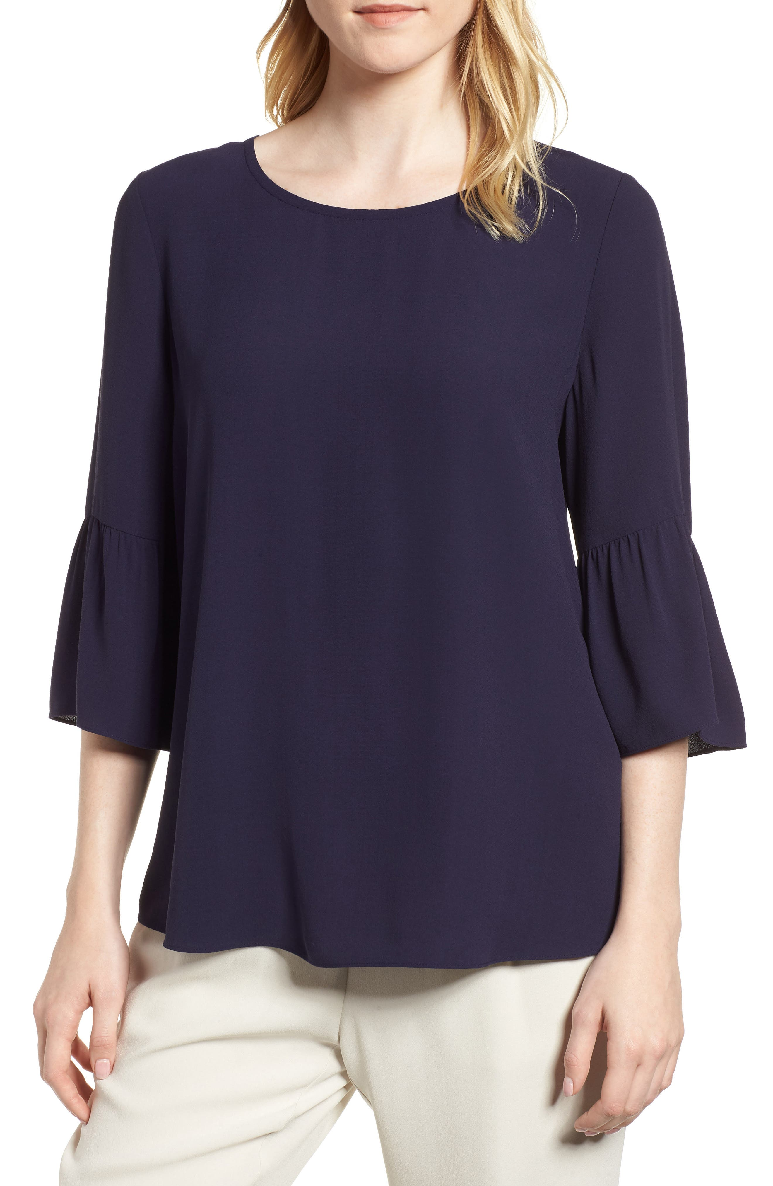 Eileen Fisher Ruffled Sleeve Silk Top (Regular & Petite)