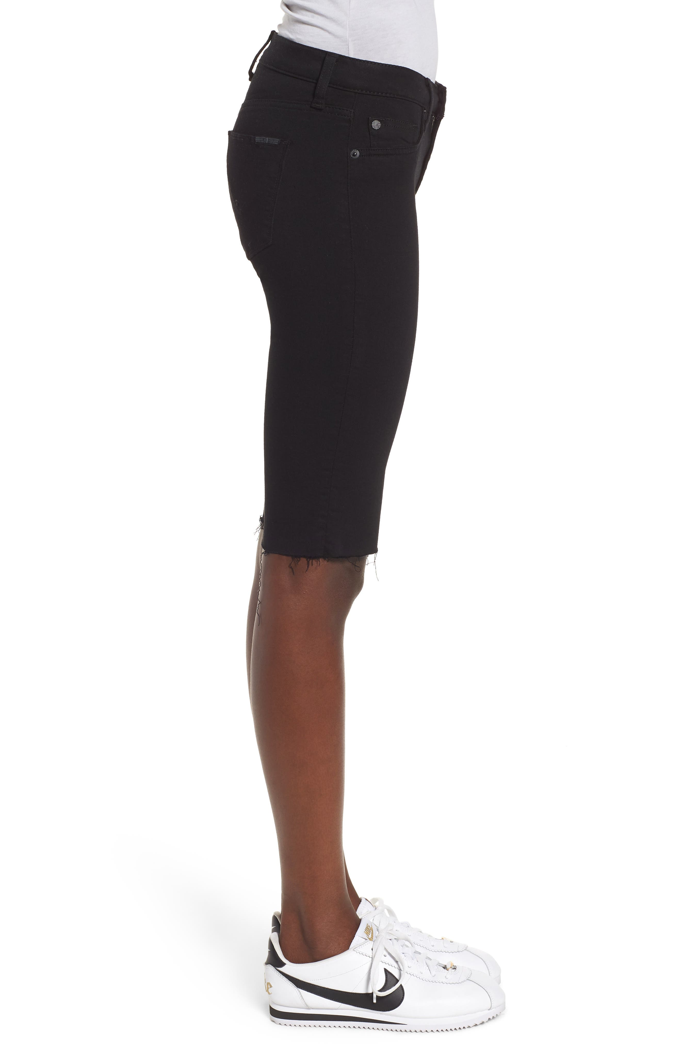 Amelia Cutoff Knee Shorts,                             Alternate thumbnail 3, color,                             Black