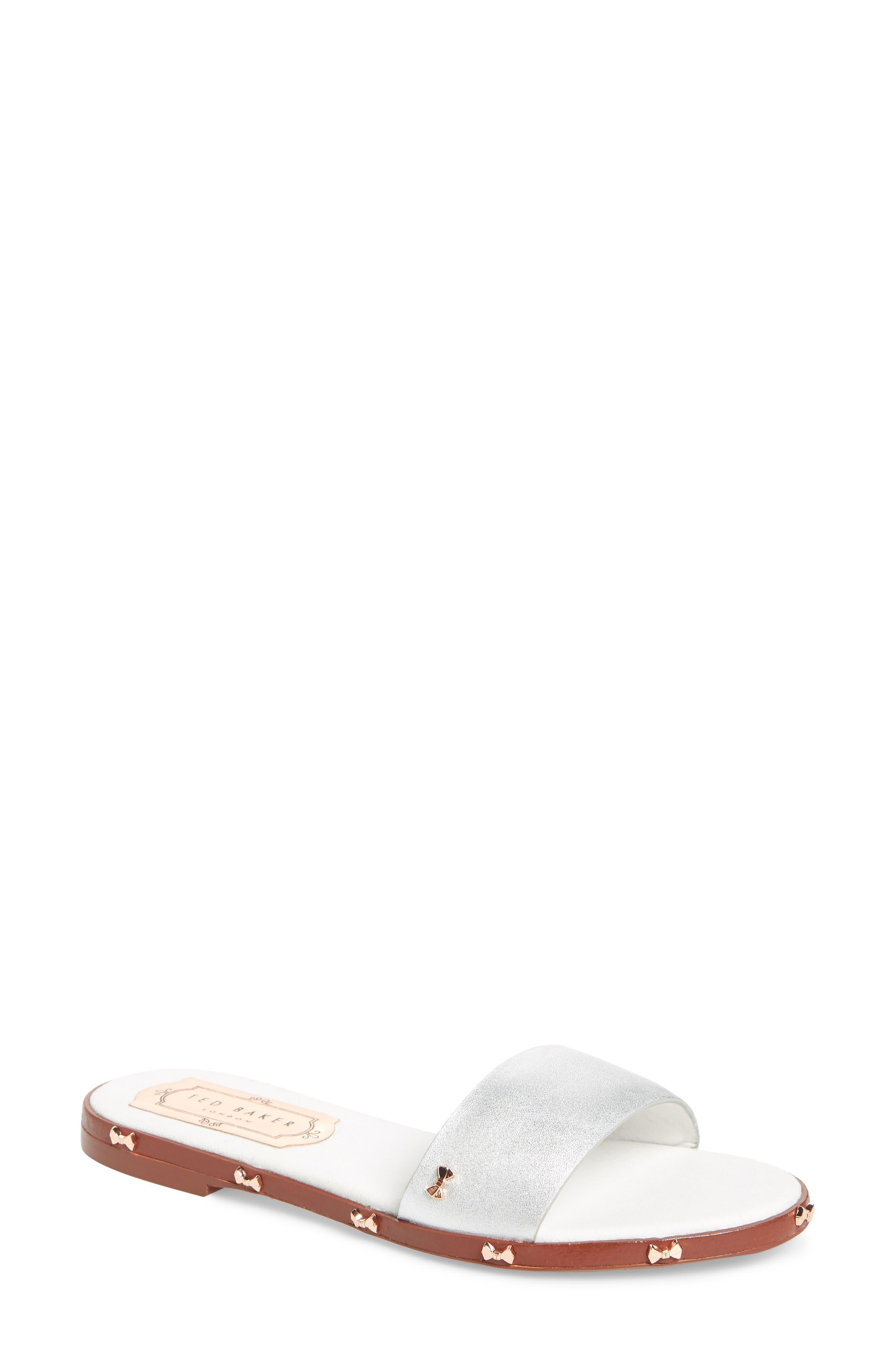 Kytti Slide Sandal,                         Main,                         color, Silver Leather