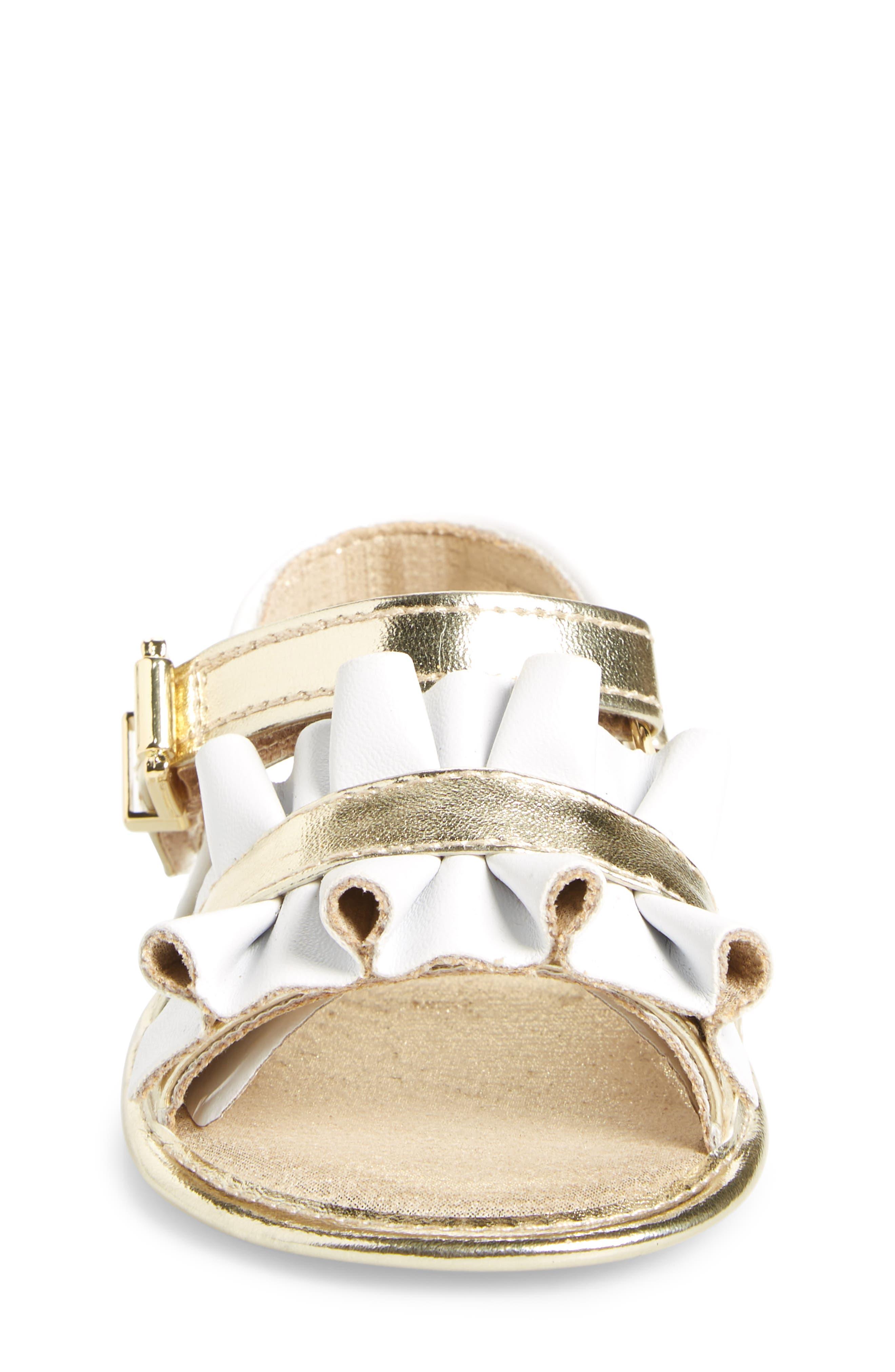 Baby Free Metallic Ruffled Sandal,                             Alternate thumbnail 4, color,                             White Gold