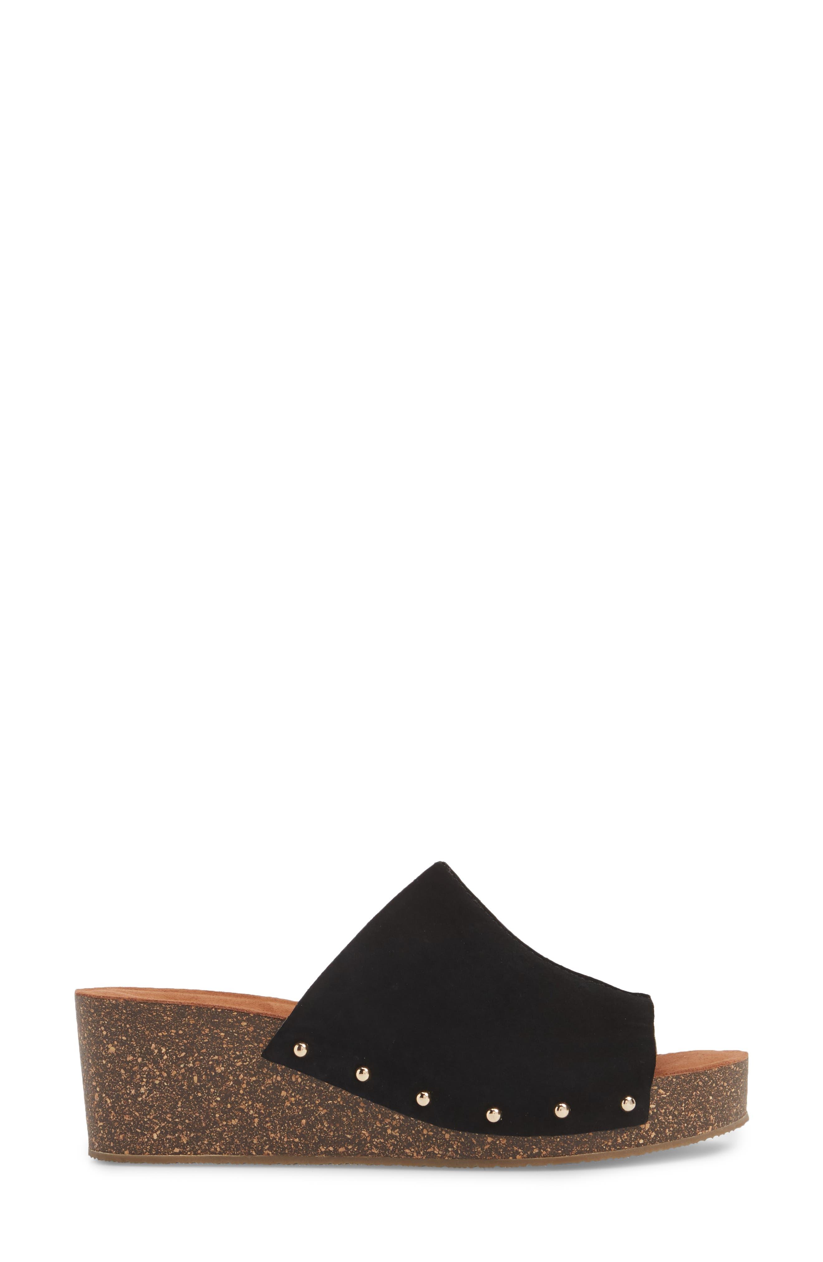 Pavia Wedge Mule,                             Alternate thumbnail 3, color,                             Black Leather