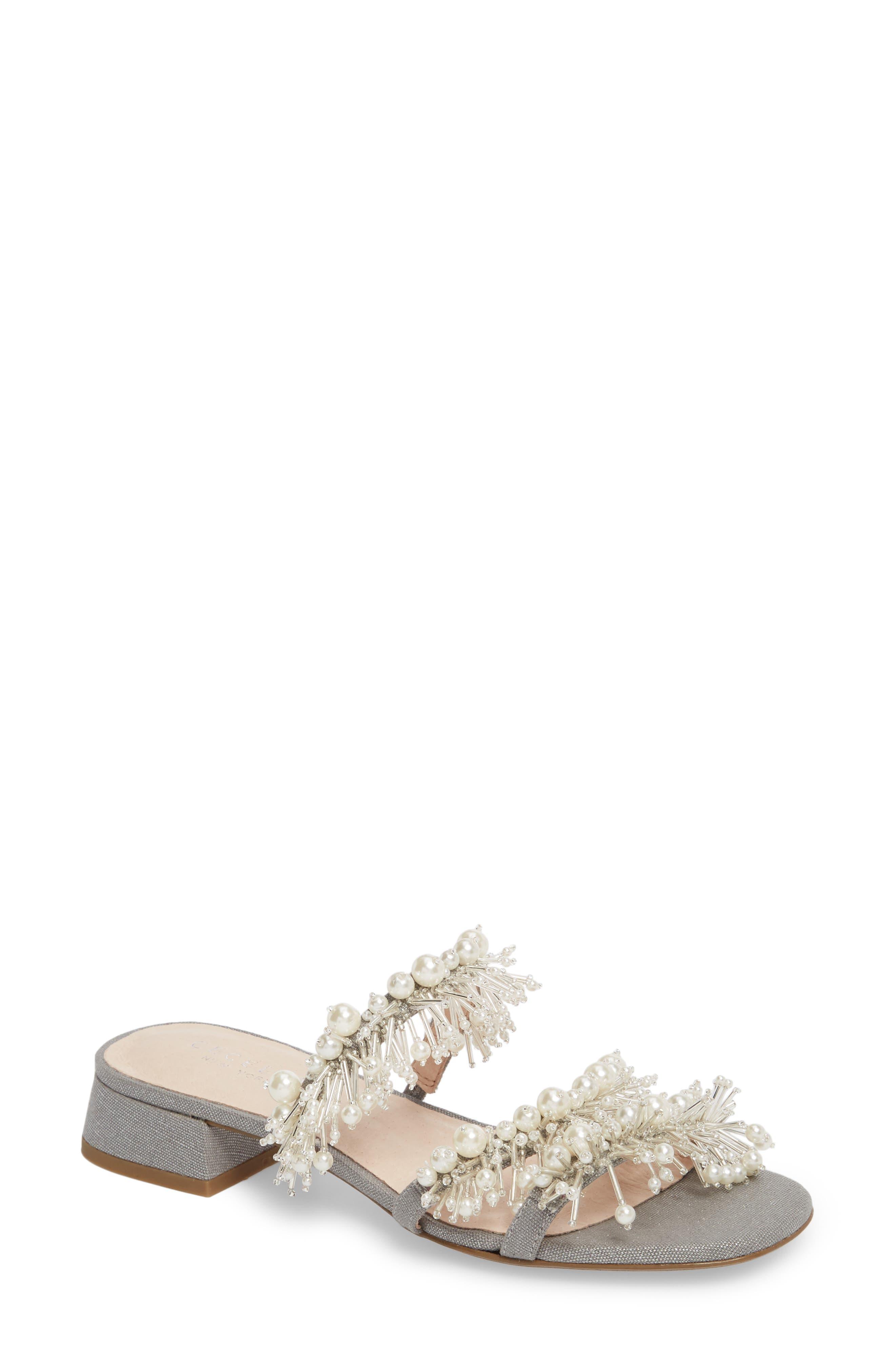 Fes Embellished Slide Sandal,                             Main thumbnail 1, color,                             Grey Fabric