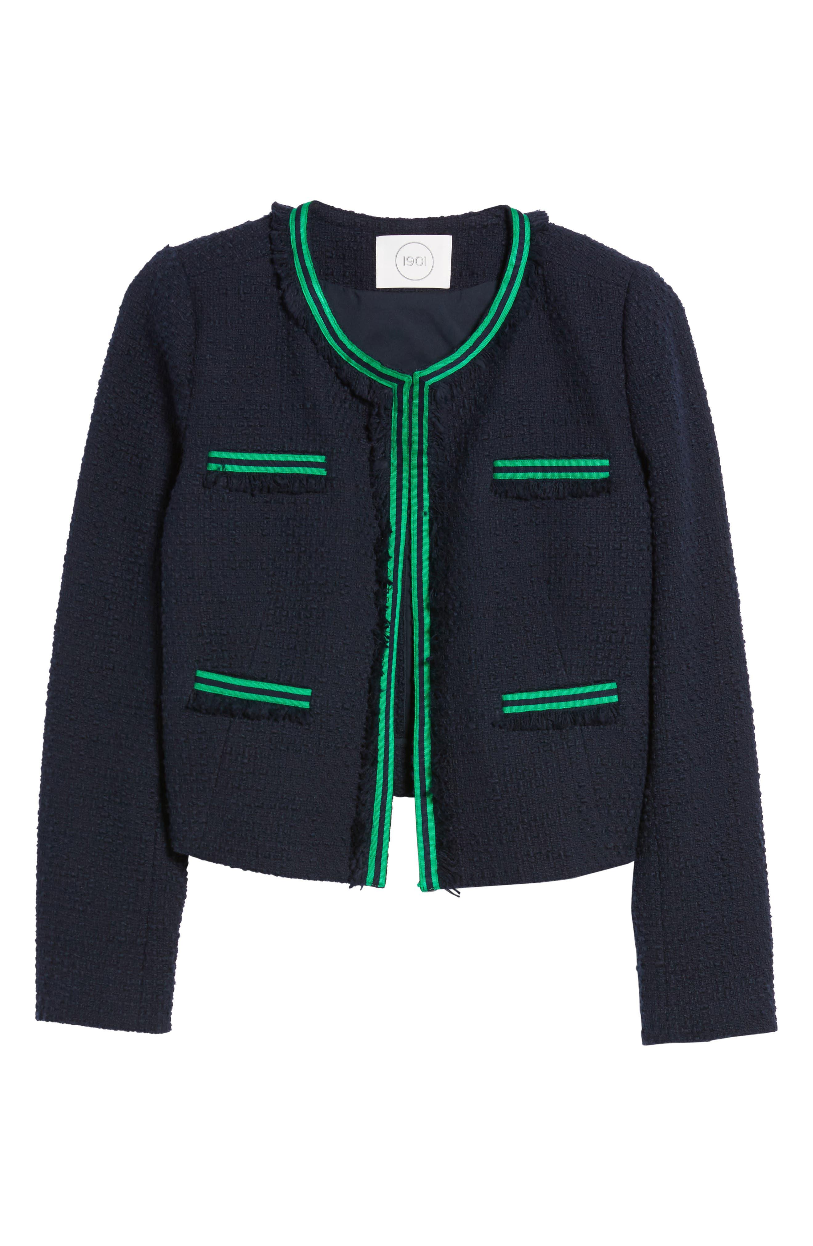 Ribbon Trim Textured Cotton Open Front Jacket,                             Alternate thumbnail 7, color,                             Navy Night