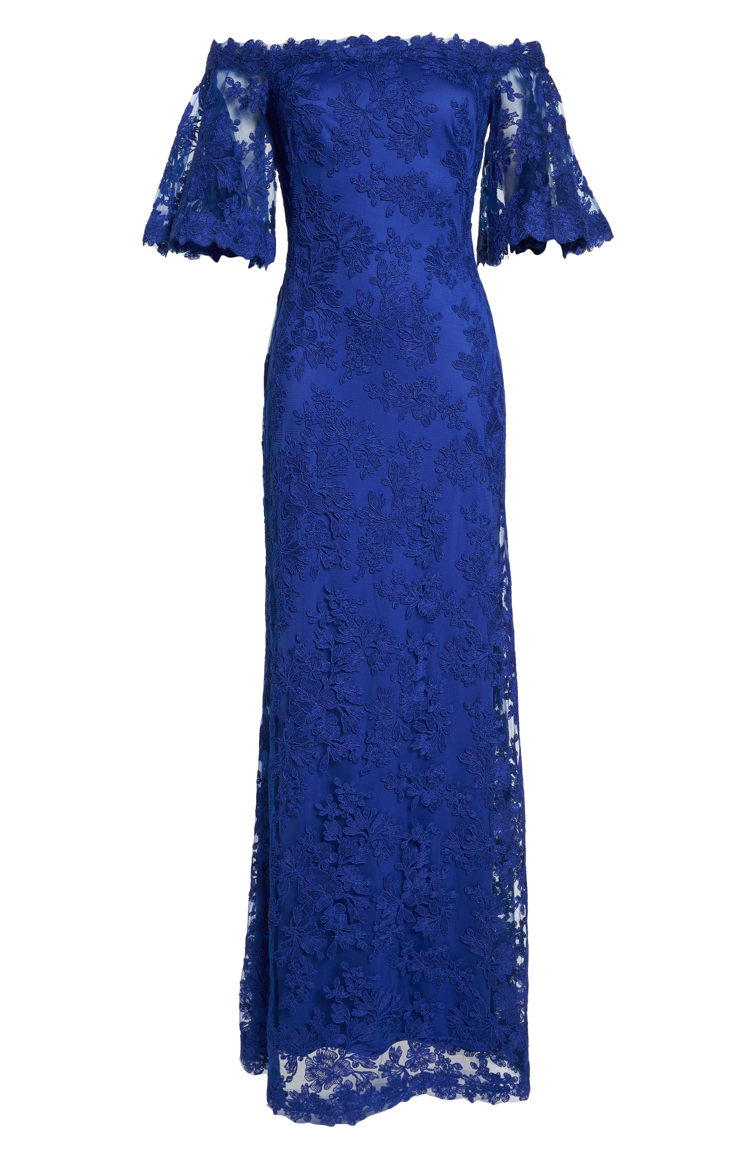 Off the Shoulder Lace Gown,                             Alternate thumbnail 6, color,                             Royal Iris