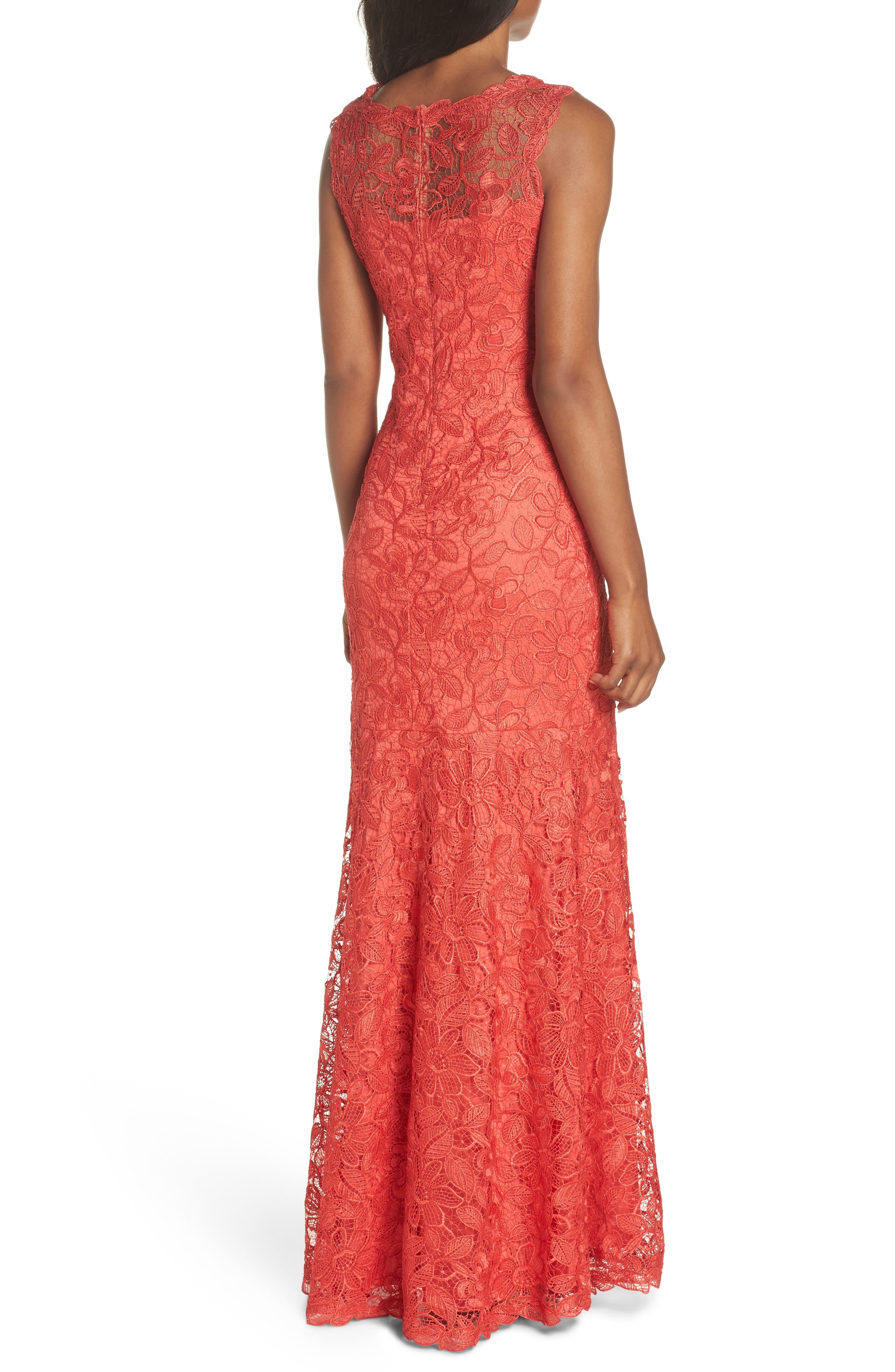 Floral Lace Trumpet Gown,                             Alternate thumbnail 2, color,                             Red/ Jasper
