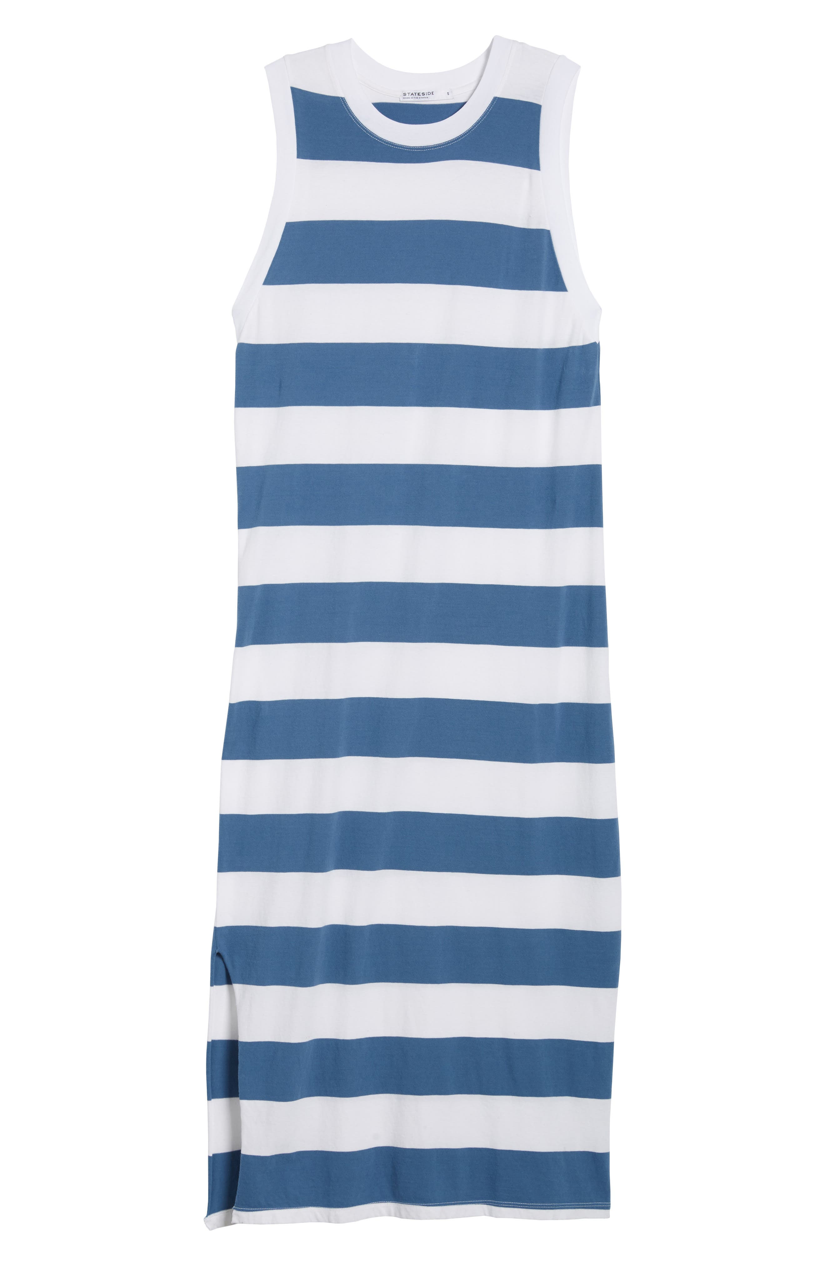 Rugby Stripe Maxi Dress,                             Alternate thumbnail 7, color,                             White/ Blue